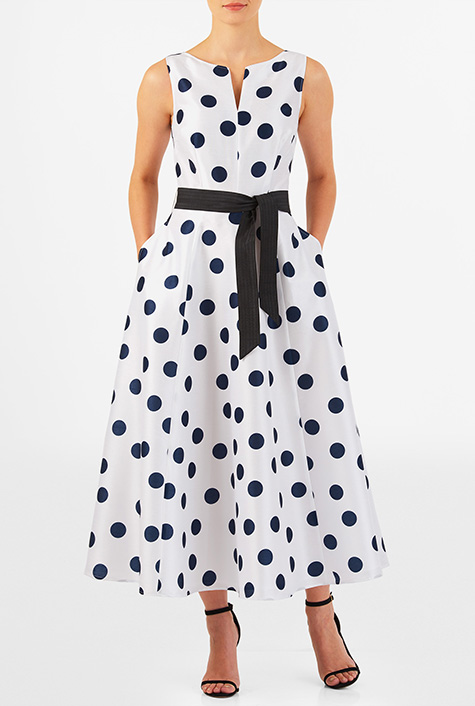 Vintage Evening Dresses eShakti Womens Polka dot print dupioni midi dress $64.95 AT vintagedancer.com