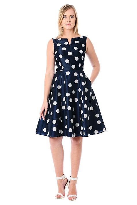 1940s Pinup Dresses for Sale eShakti Womens Polka dot print dupioni dress $63.95 AT vintagedancer.com