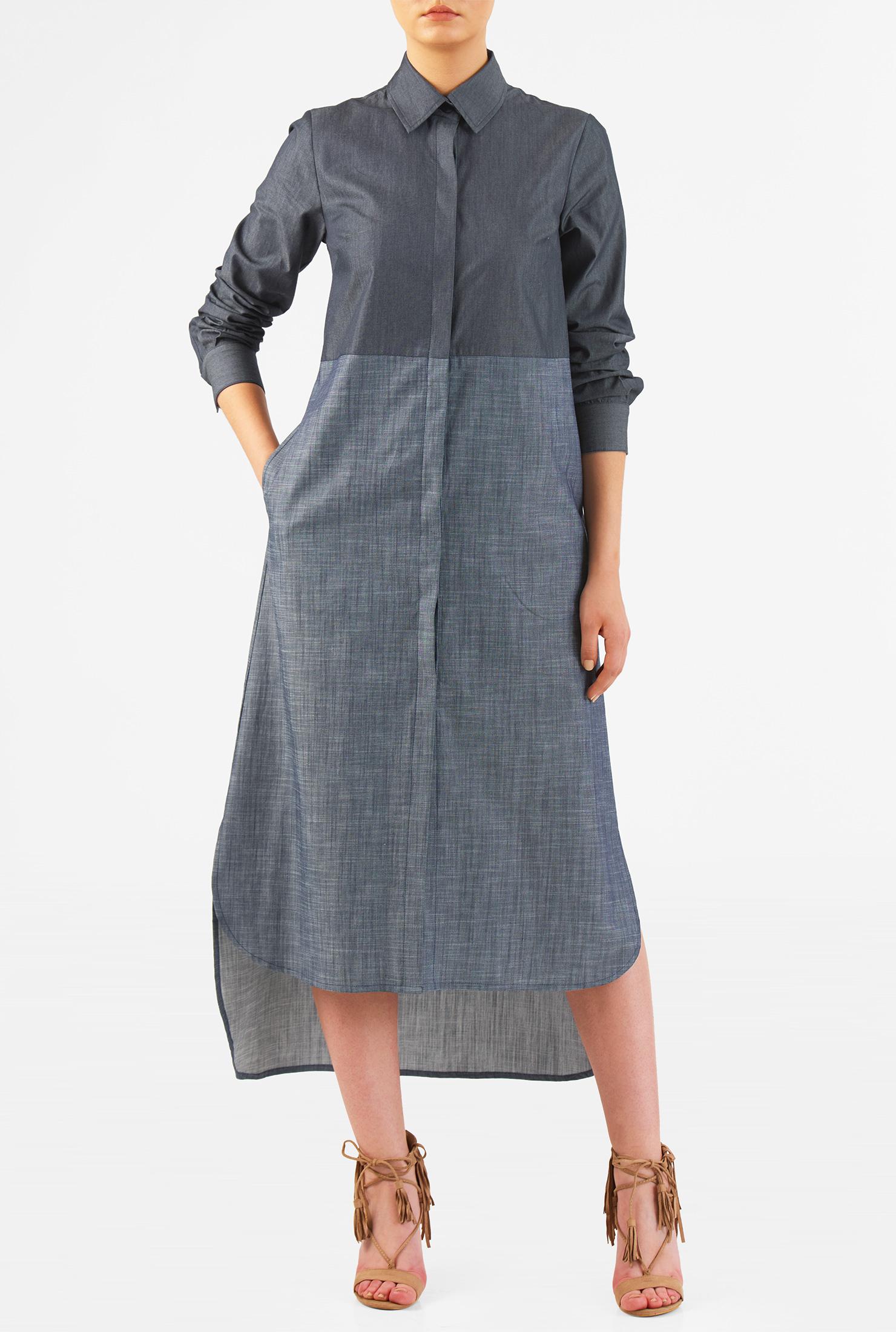Eshakti Women S Colorblock High Low Hem Cotton Chambray Shirtdress image