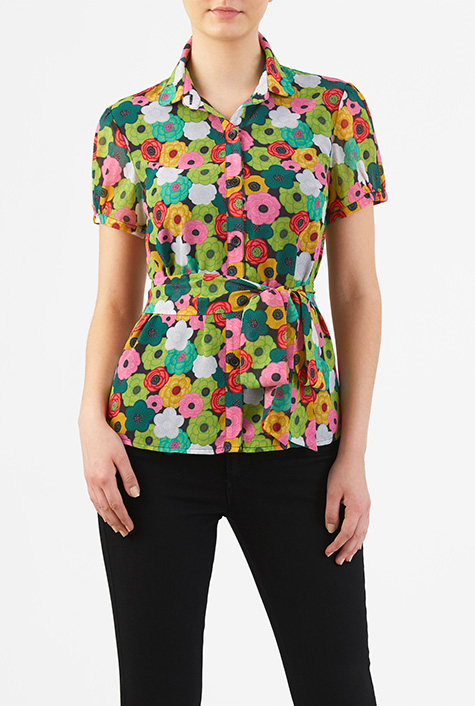 Shop 1960s Style Blouses, Shirts and Tops eShakti Womens Floral print puff sleeve georgette blouse $41.95 AT vintagedancer.com
