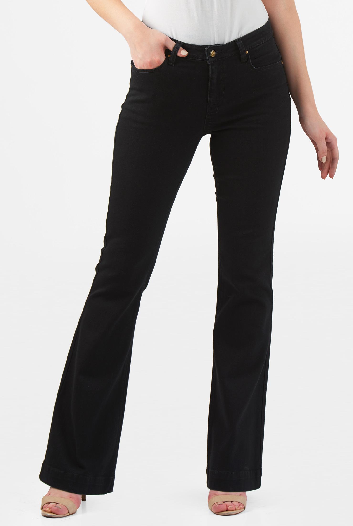 Eshakti Womens Black Denim Flare Jeans