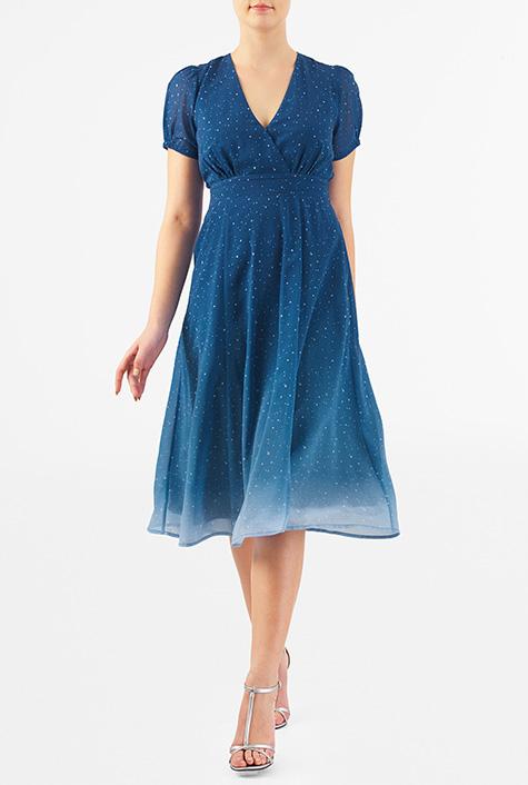 500 Vintage Style Dresses for Sale eShakti Womens Star print georgette surplice empire dress $81.95 AT vintagedancer.com