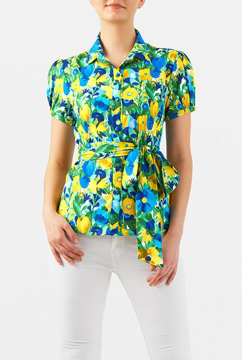 1950s Rockabilly & Pinup Tops, Shirts, Blouses eShakti Womens Floral print puff sleeve crepe blouse $40.95 AT vintagedancer.com
