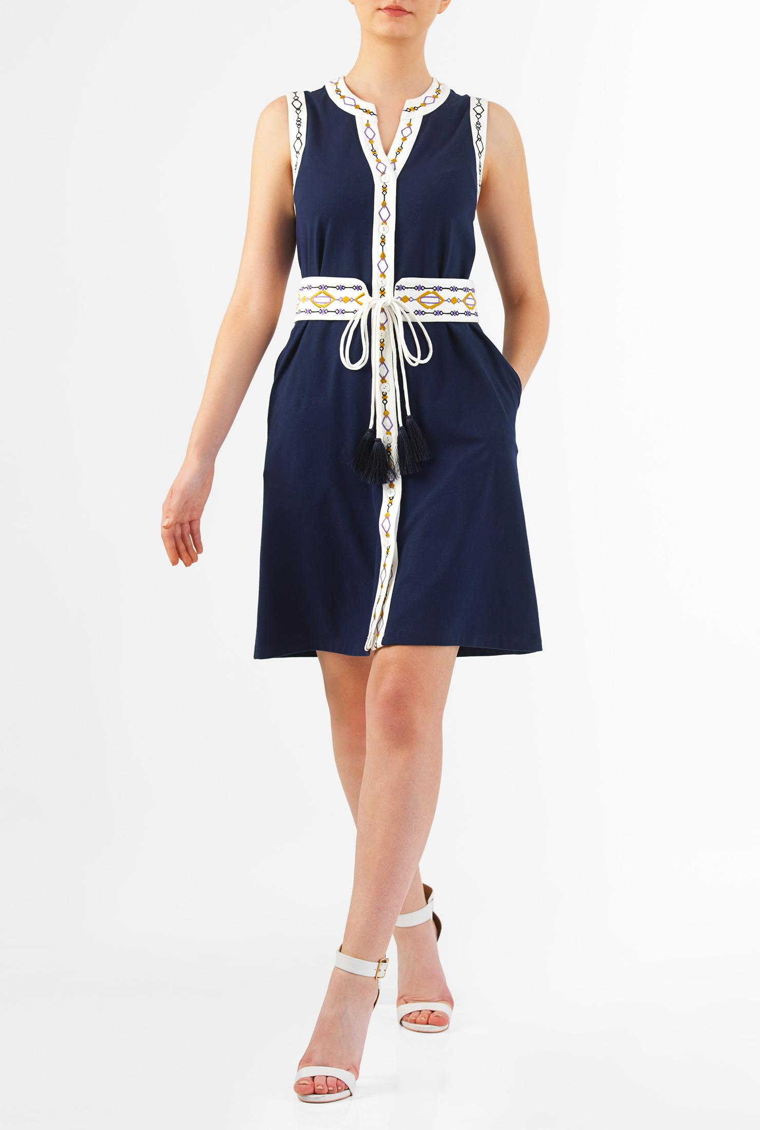 Eshakti Womens Graphic Embellished Tie Belt Cotton Knit Shirtdress