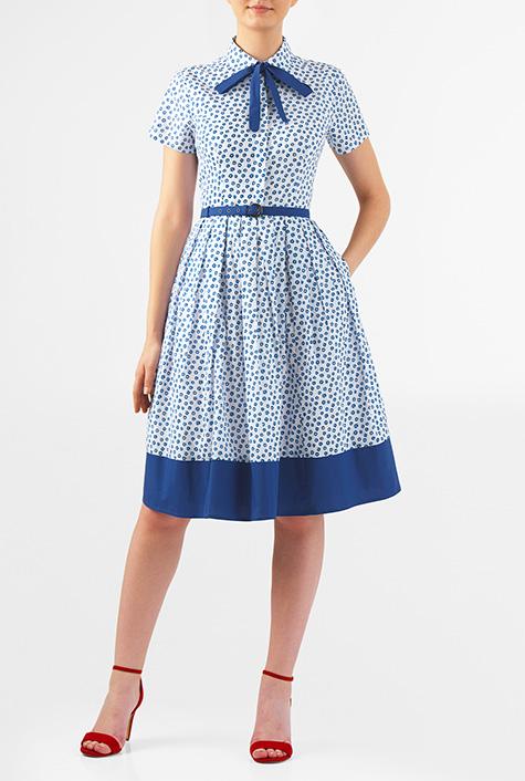 500 Vintage Style Dresses for Sale Tie neck belted floral dot print cotton shirtdress $56.95 AT vintagedancer.com