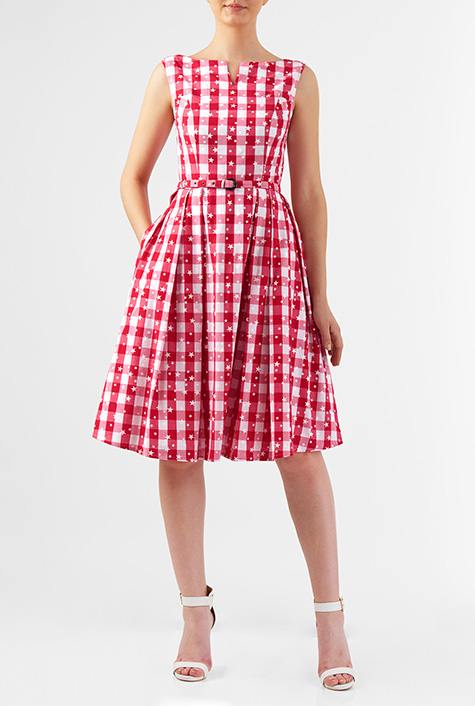 1950s House Dresses and Aprons History eShakti Womens Star print gingham check cotton midi dress $62.95 AT vintagedancer.com