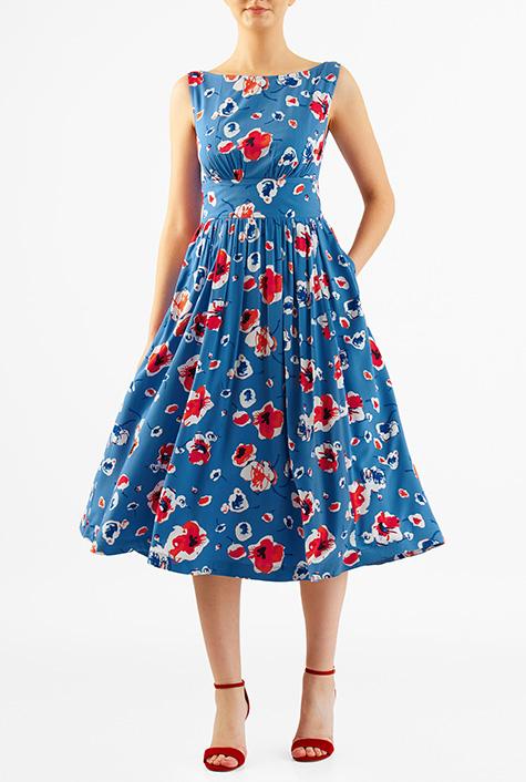500 Vintage Style Dresses for Sale eShakti Womens Floral print cotton modal ruched pleat dress $56.95 AT vintagedancer.com
