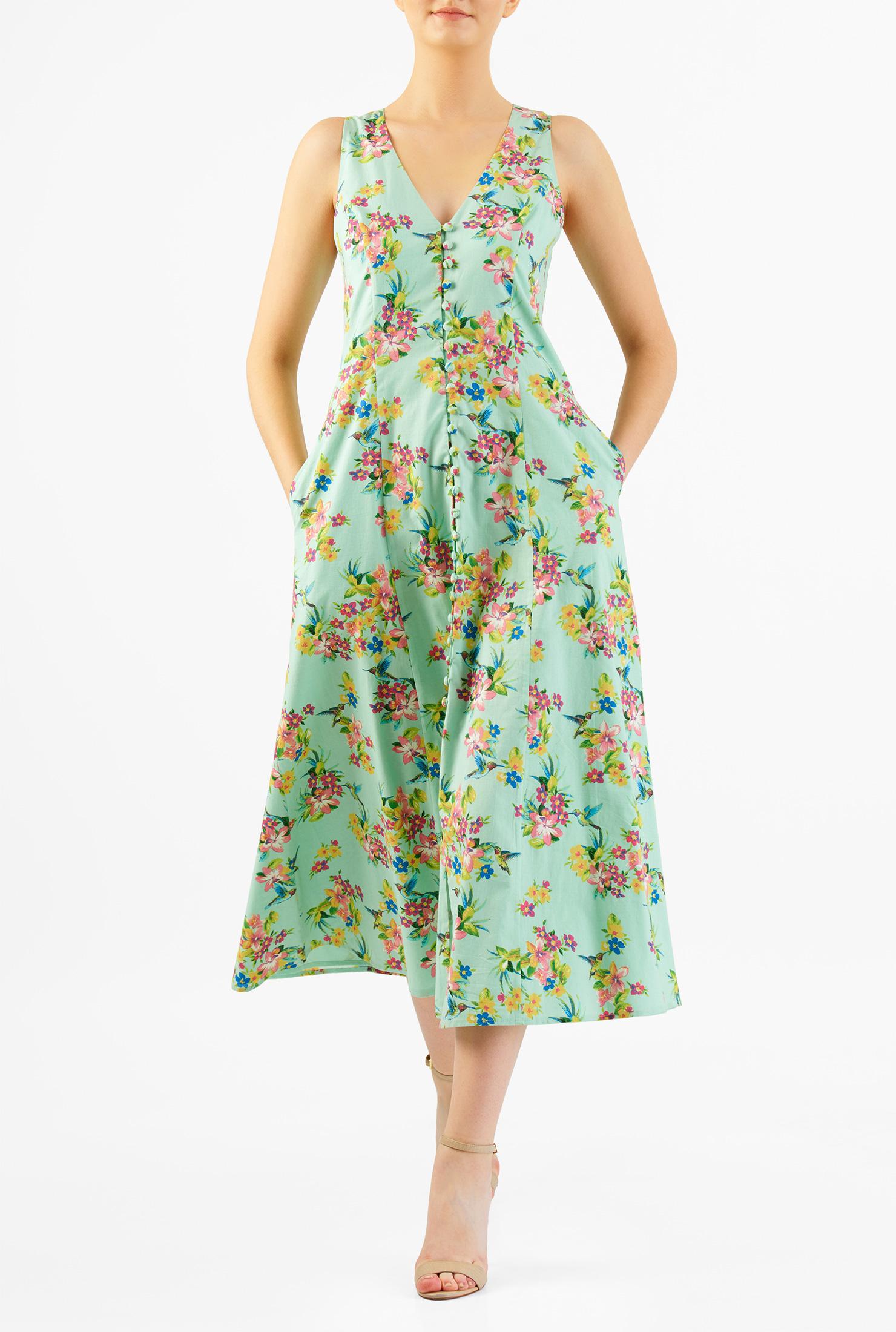 eShakti Women's Floral print rouleau-button front cotton midi shift dres