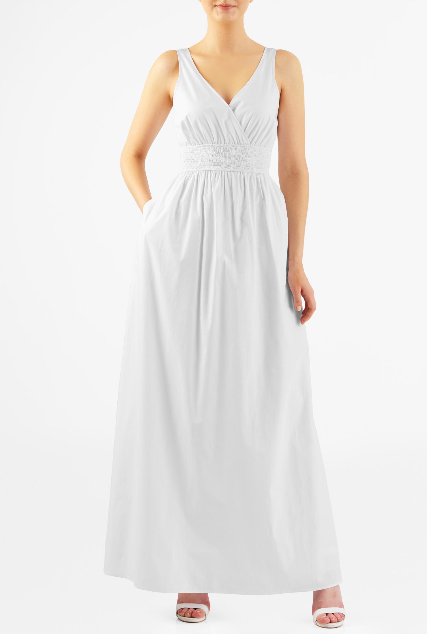 eShakti Women's Elastic waist cotton maxi dress