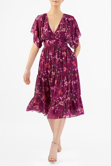 1930s Style Day Dresses eShakti Womens Tropical floral print georgette tiered dress $61.95 AT vintagedancer.com