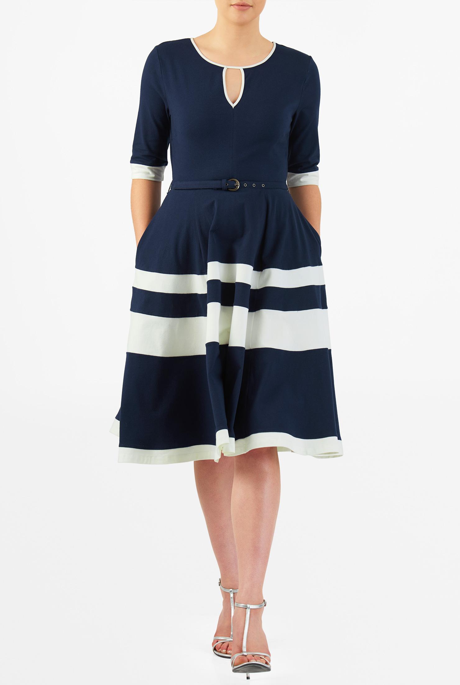 Eshakti Womens Contrast Banded Stripe Cotton Knit Belted Dress