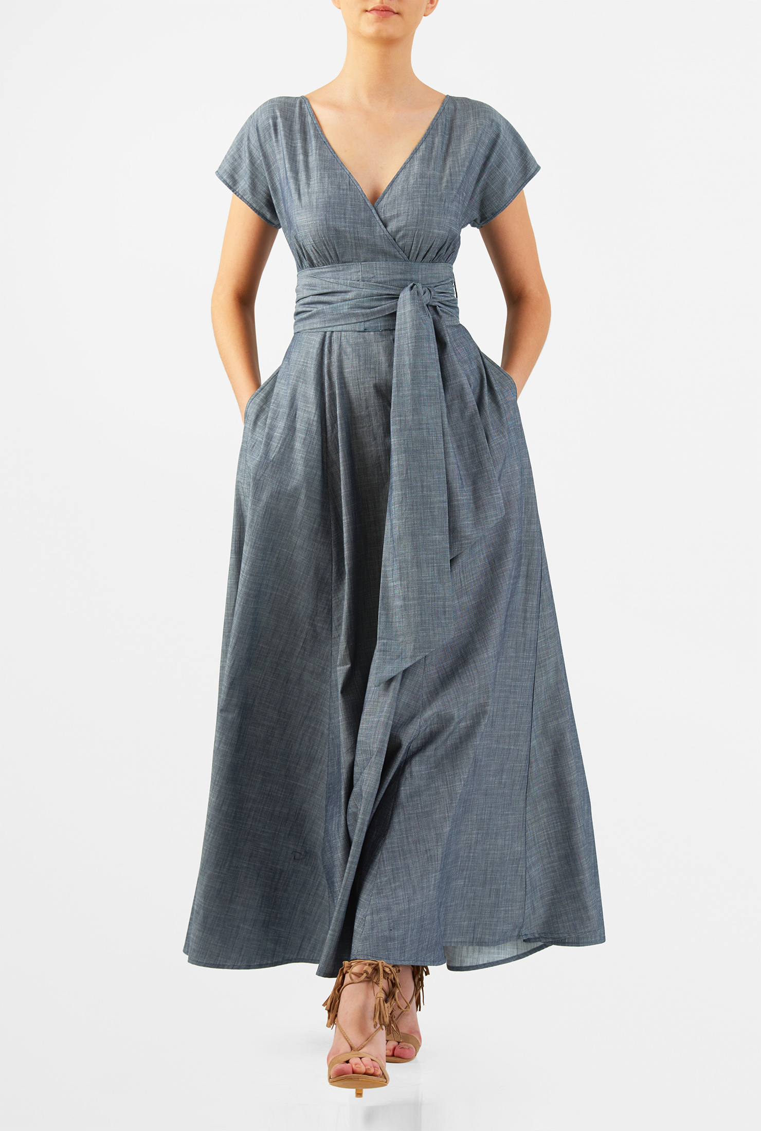 Eshakti Womens Sash Tie Cotton Chambray Maxi Dress