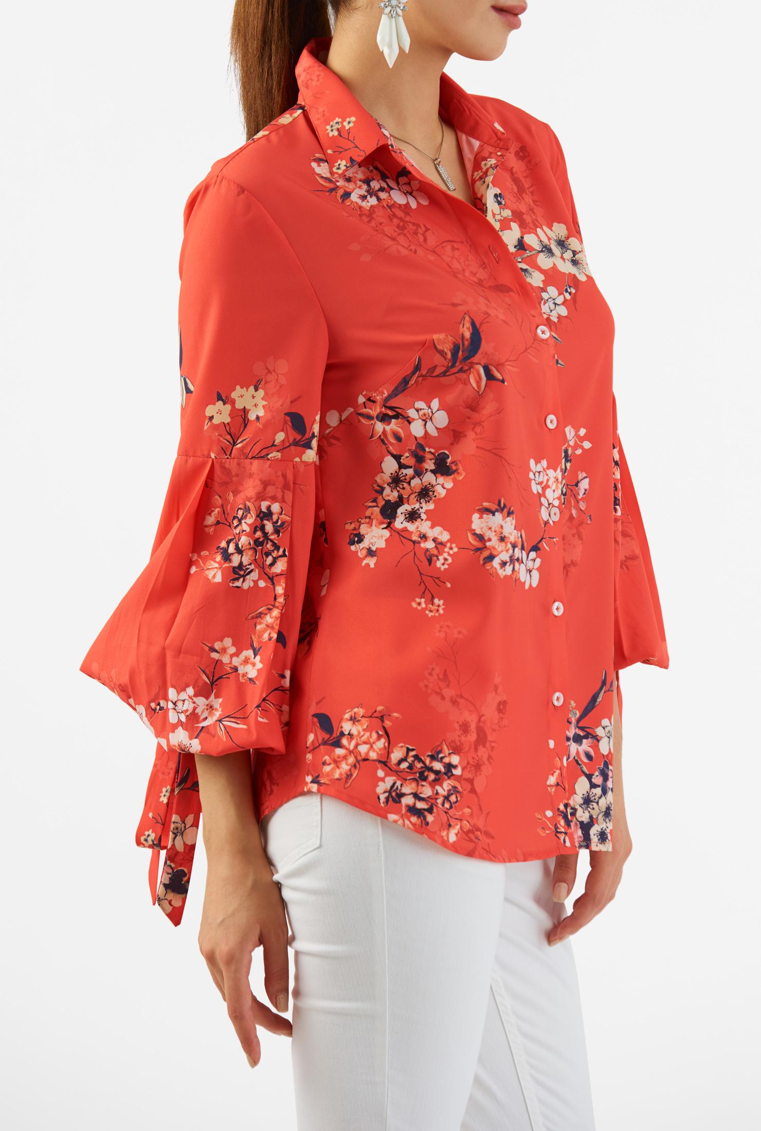 eShakti Women's Floral print crepe statement sleeve shirt CL0049789