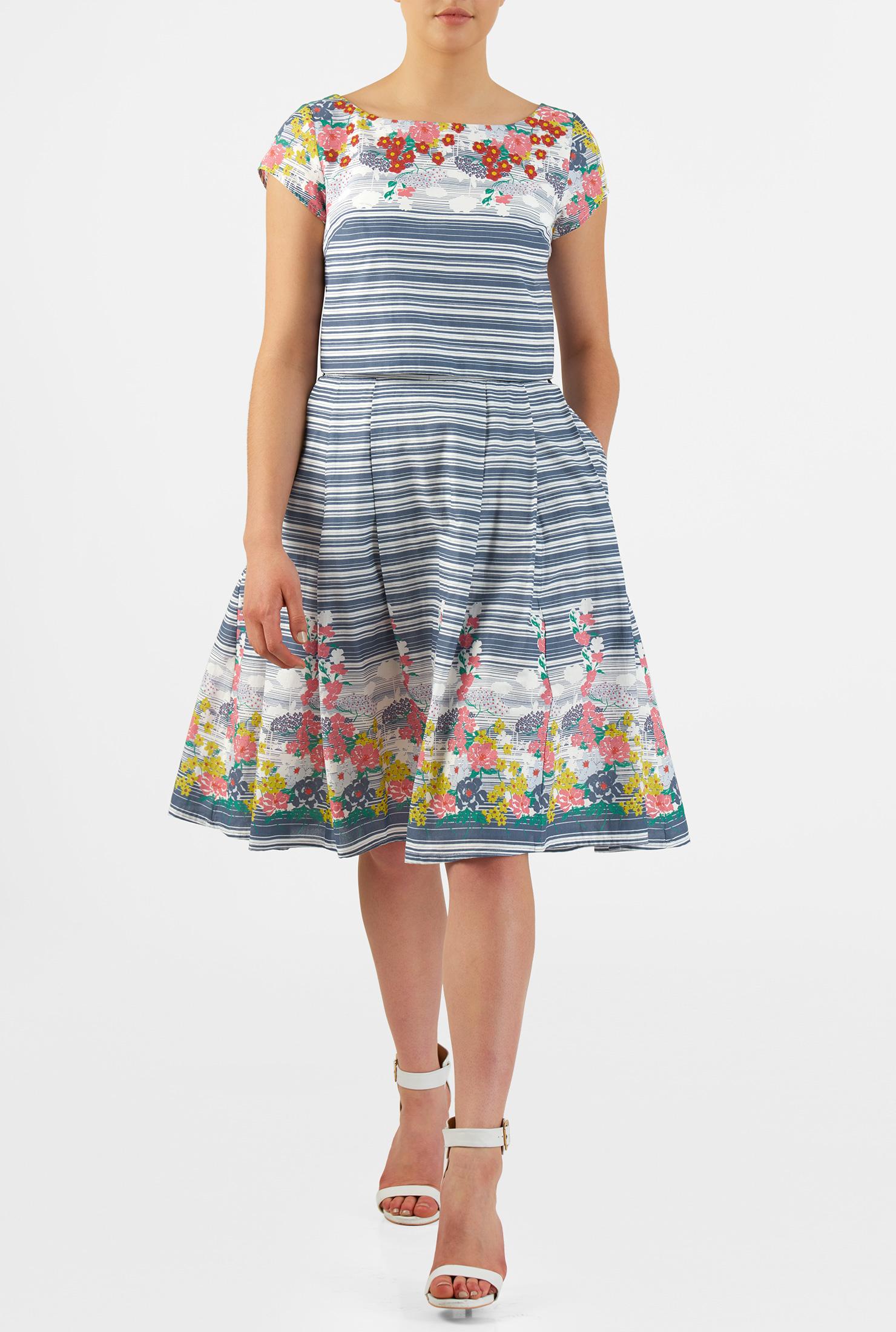 eShakti Women's Floral stripe cotton two-piece dress CL0049820