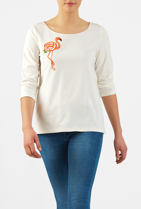 1950s Rockabilly & Pinup Tops, Shirts, Blouses Flamingo embellished cotton knit top $47.95 AT vintagedancer.com