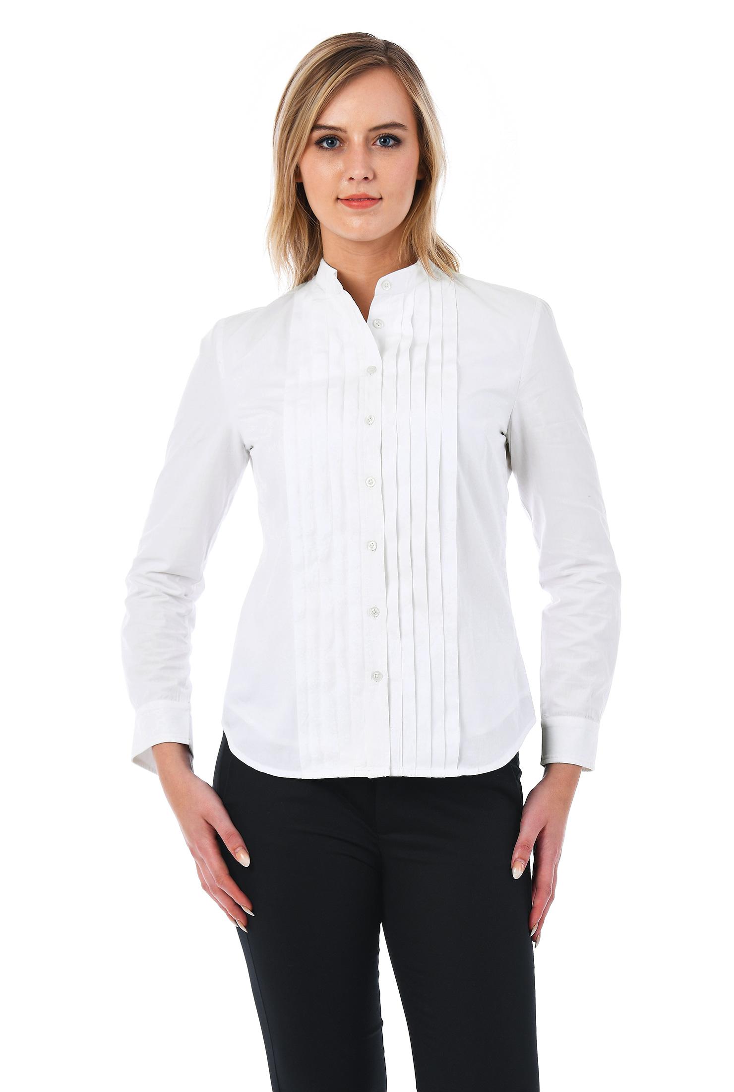 eShakti Women's Pleat front cotton poplin slim fit button-up shirt CL0049862