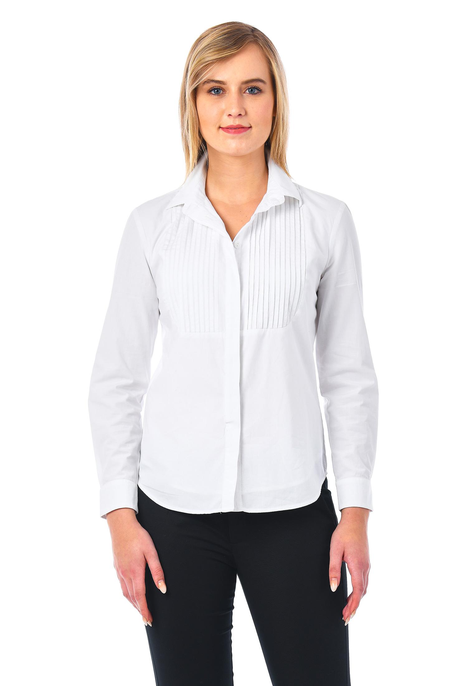 eShakti Women's Pleat bib front cotton poplin slim fit button-up shirt CL0049864