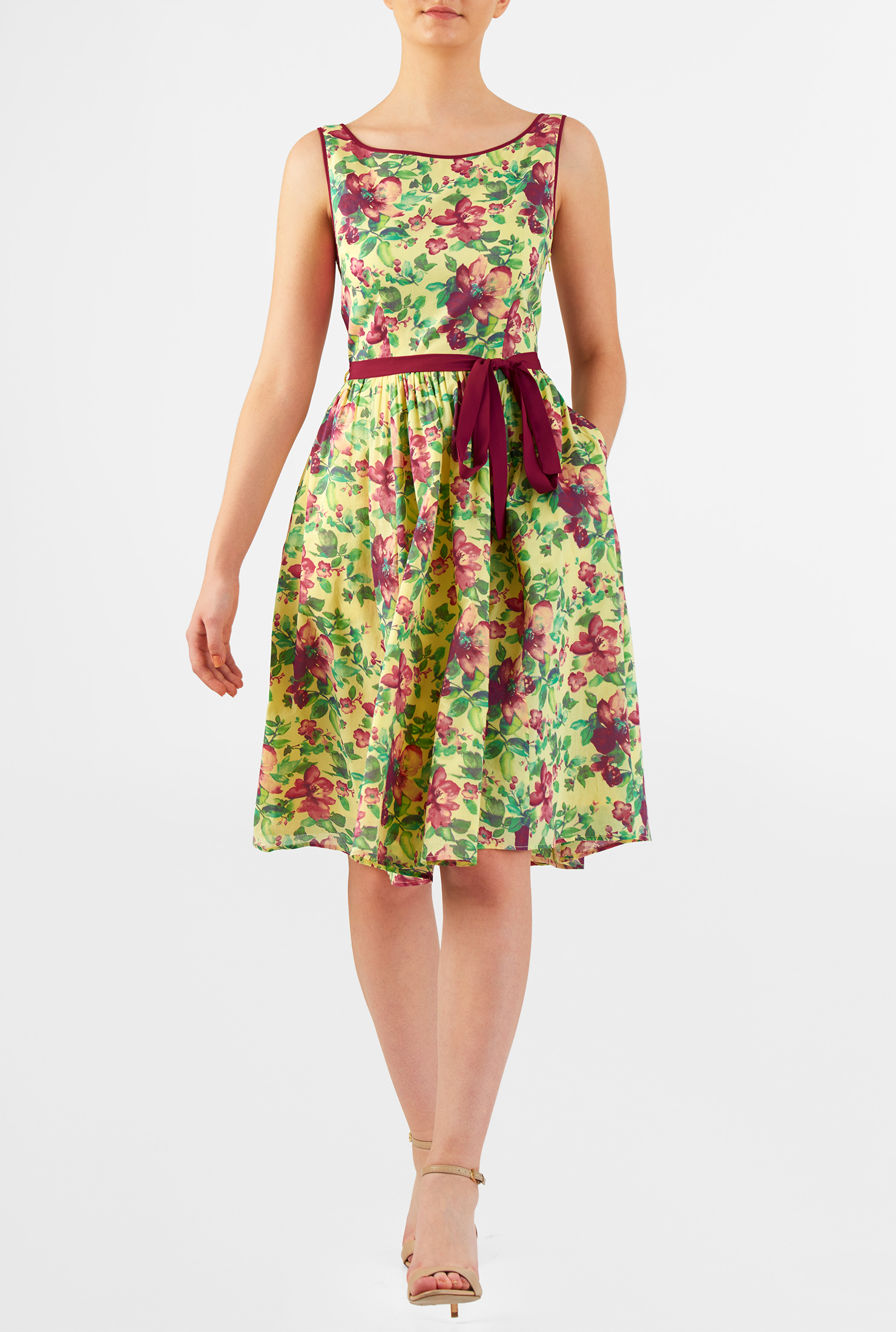 eShakti Women's Floral print cotton contrast trim dress CL0049947