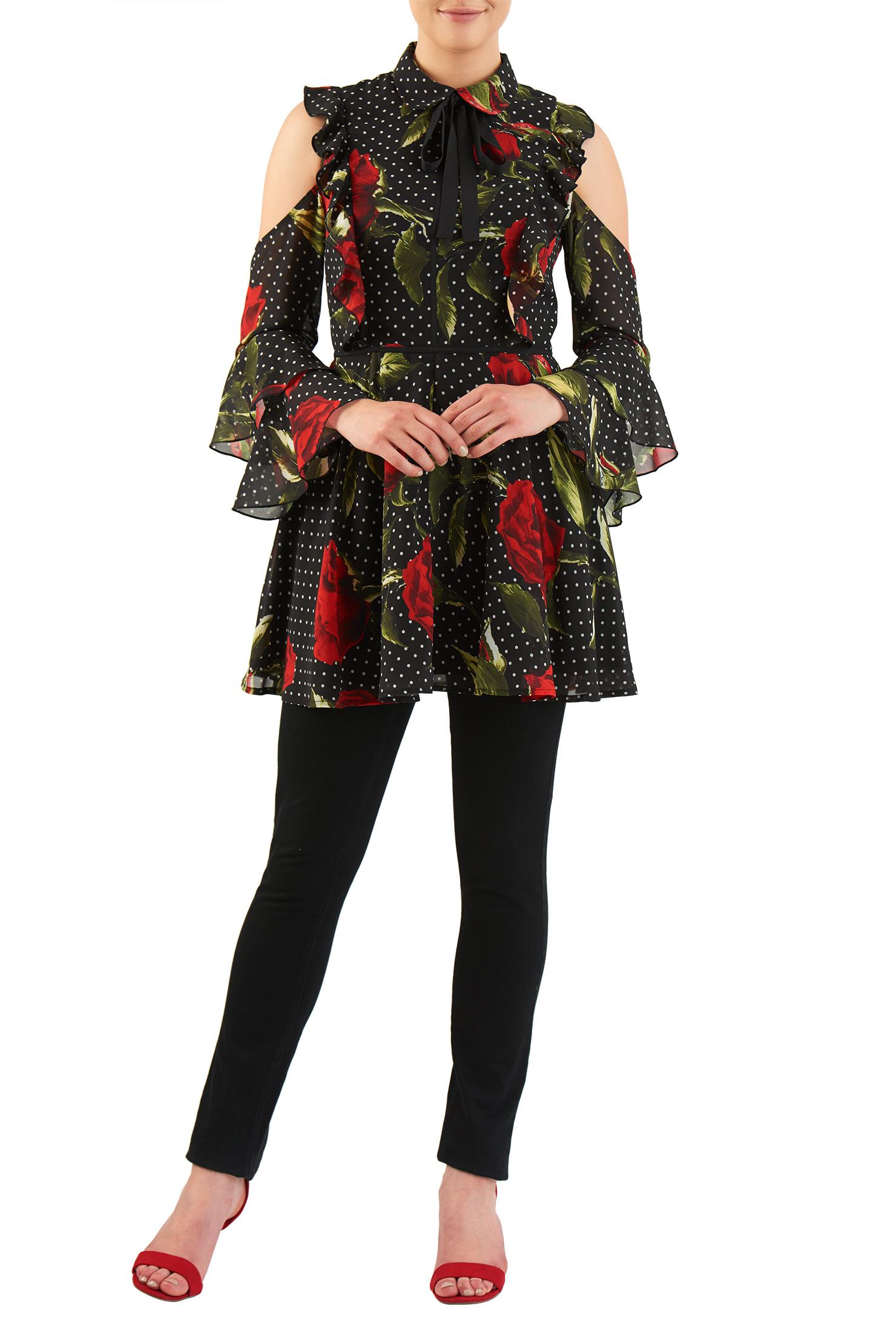 eShakti Women's Rose print georgette ruffle cold shoulder dress CL0050009