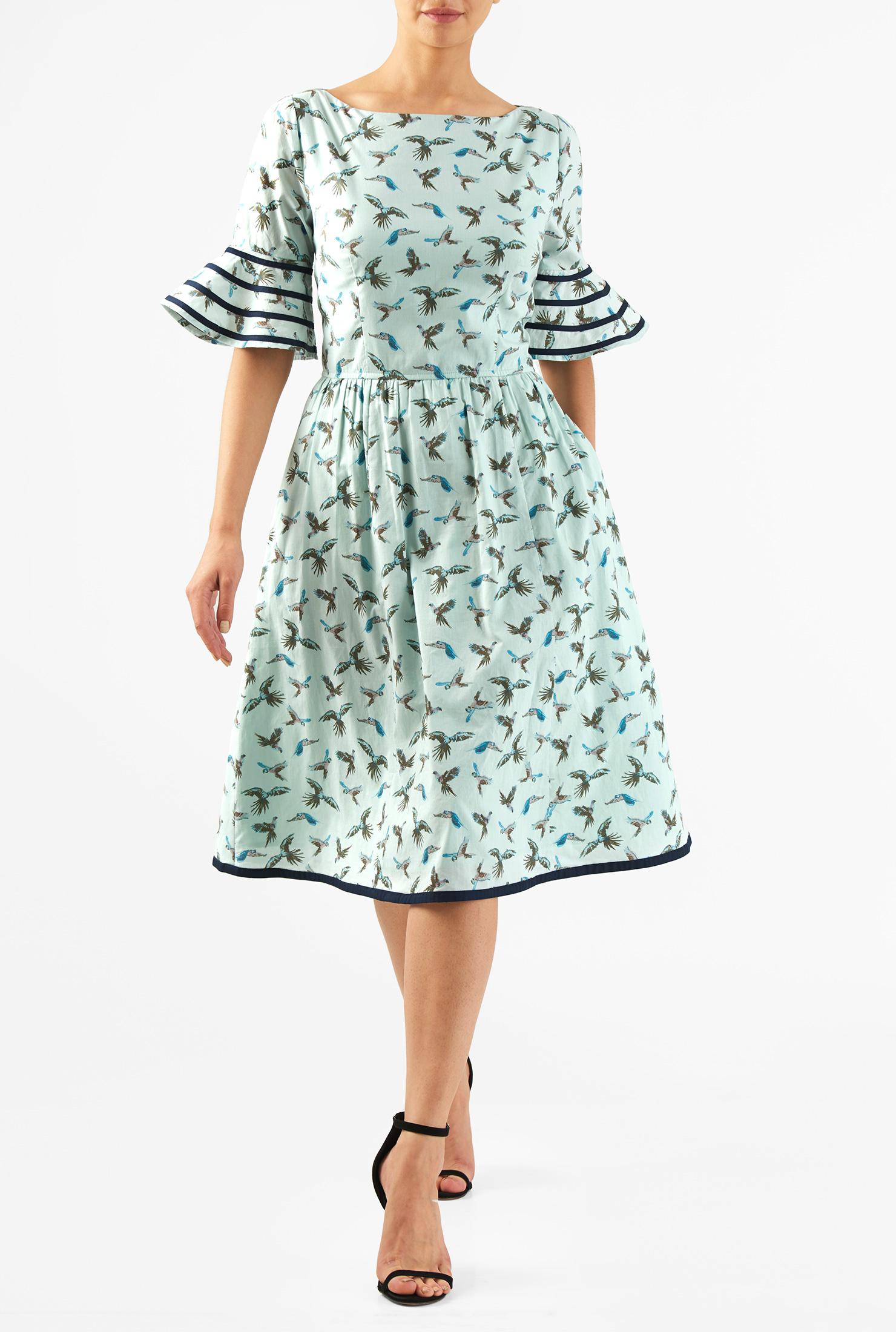 Eshakti Womens Flounce Ruffle Sleeve Bird Print Cotton Dress