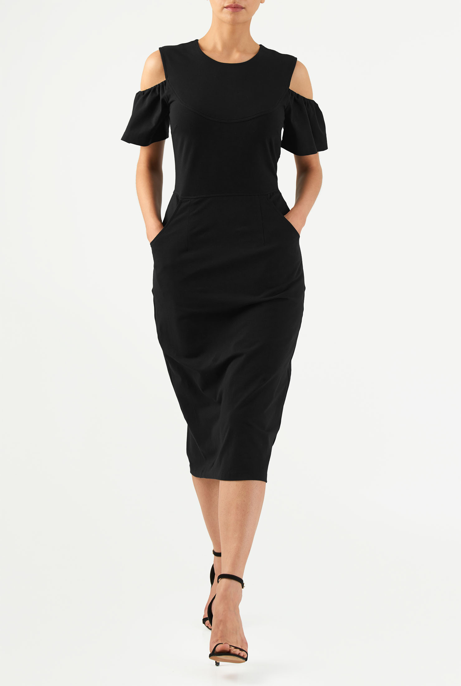 eShakti Women's Cold shoulder cotton knit sheath dress CL0050053