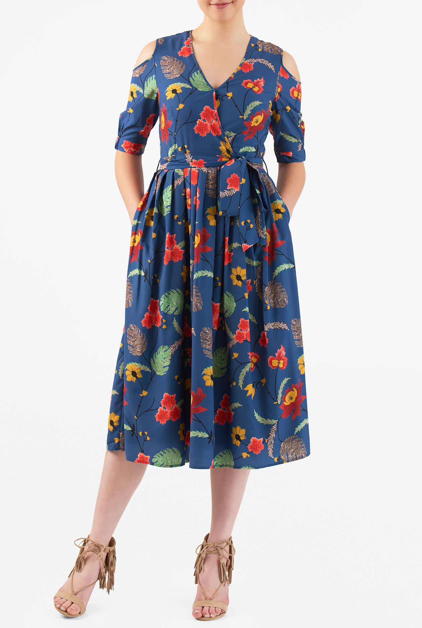 eShakti Women's Cold shoulder floral print crepe dress CL0050117
