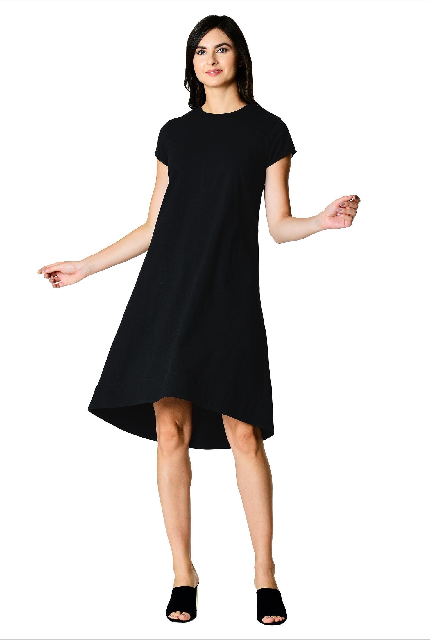 Eshakti Womens Elliptical Hem Cotton Knit Shift Dress