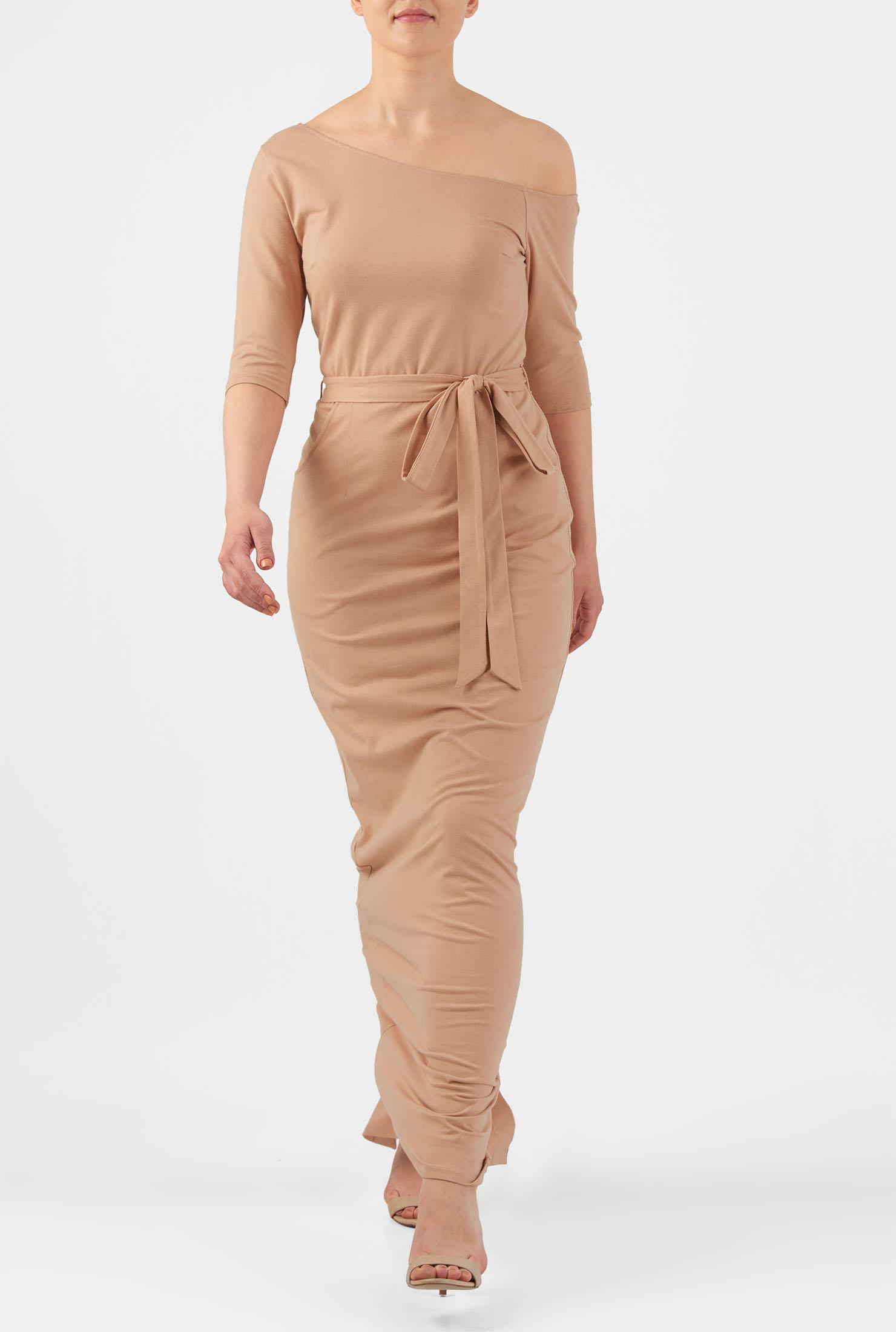 eShakti Women's One shoulder cotton knit maxi dress CL0050142