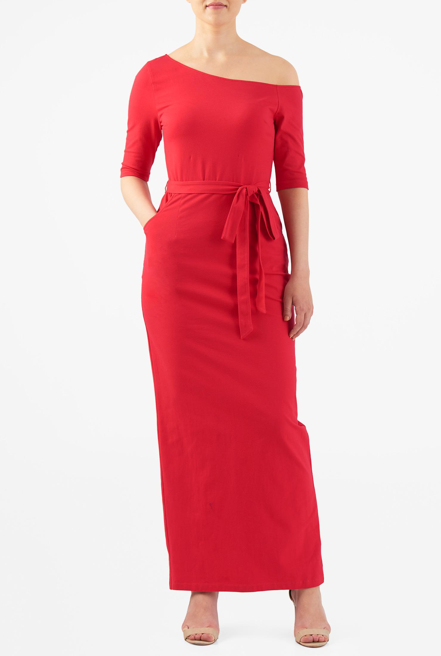 Eshakti Womens One Shoulder Cotton Knit Maxi Dress