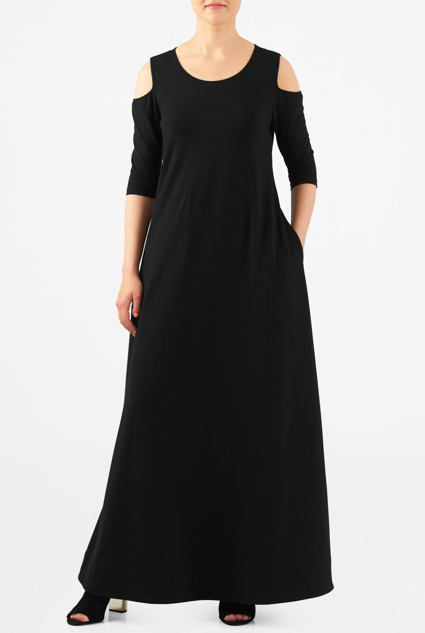 eShakti Women's Cold shoulder cotton knit maxi shift dress CL0050159