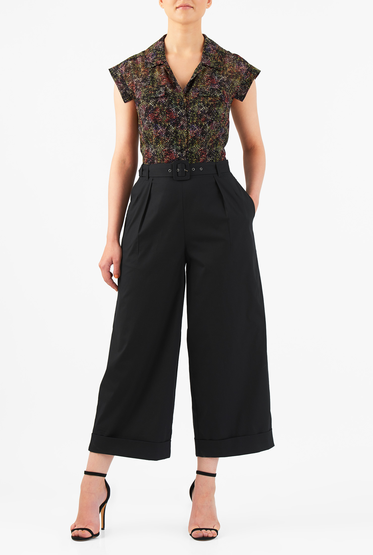 Image of eShakti Women's Abstract print mixed media belted jumpsuit