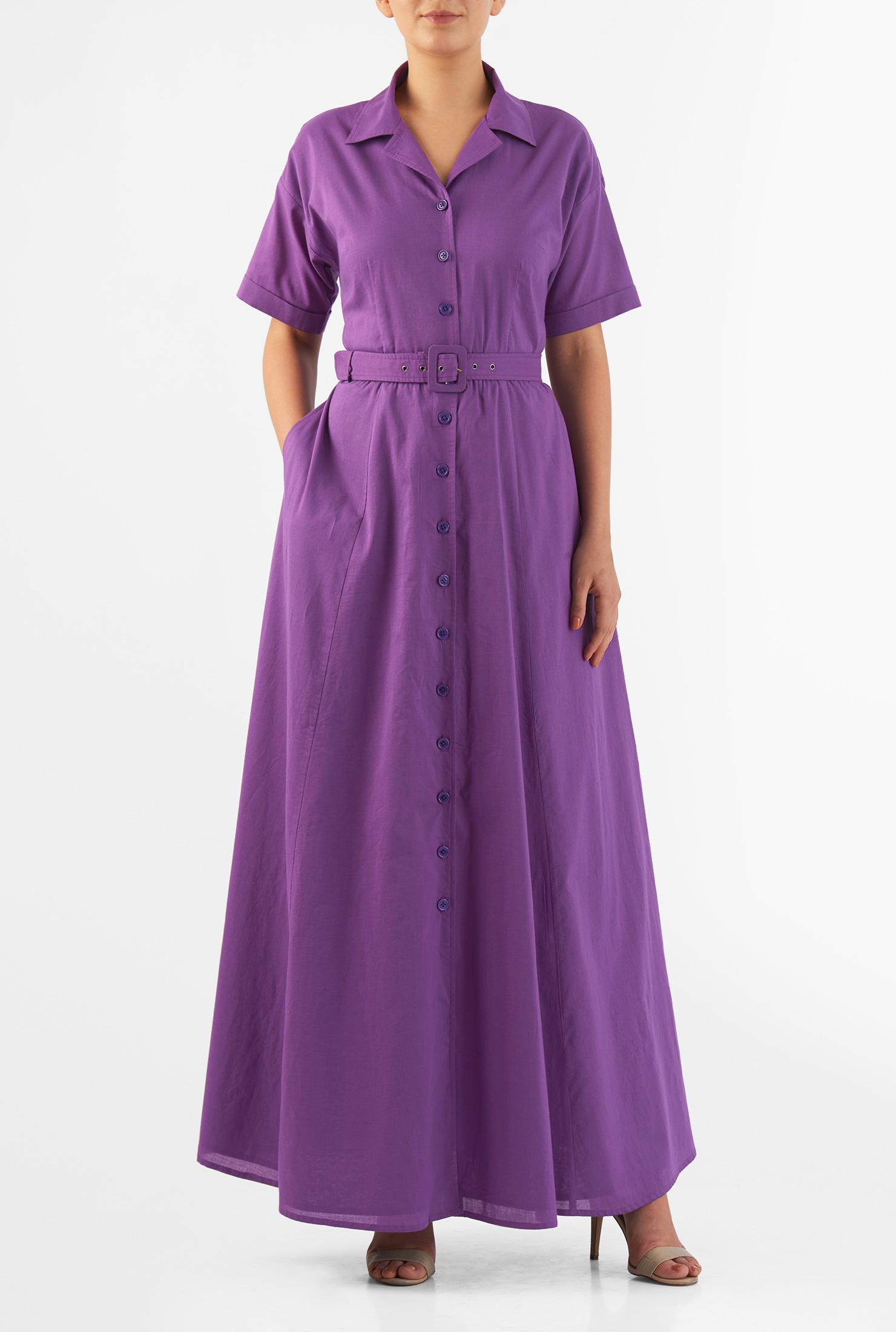 Eshakti Womens Drop Shoulder Cotton Cambric Maxi Shirtdress