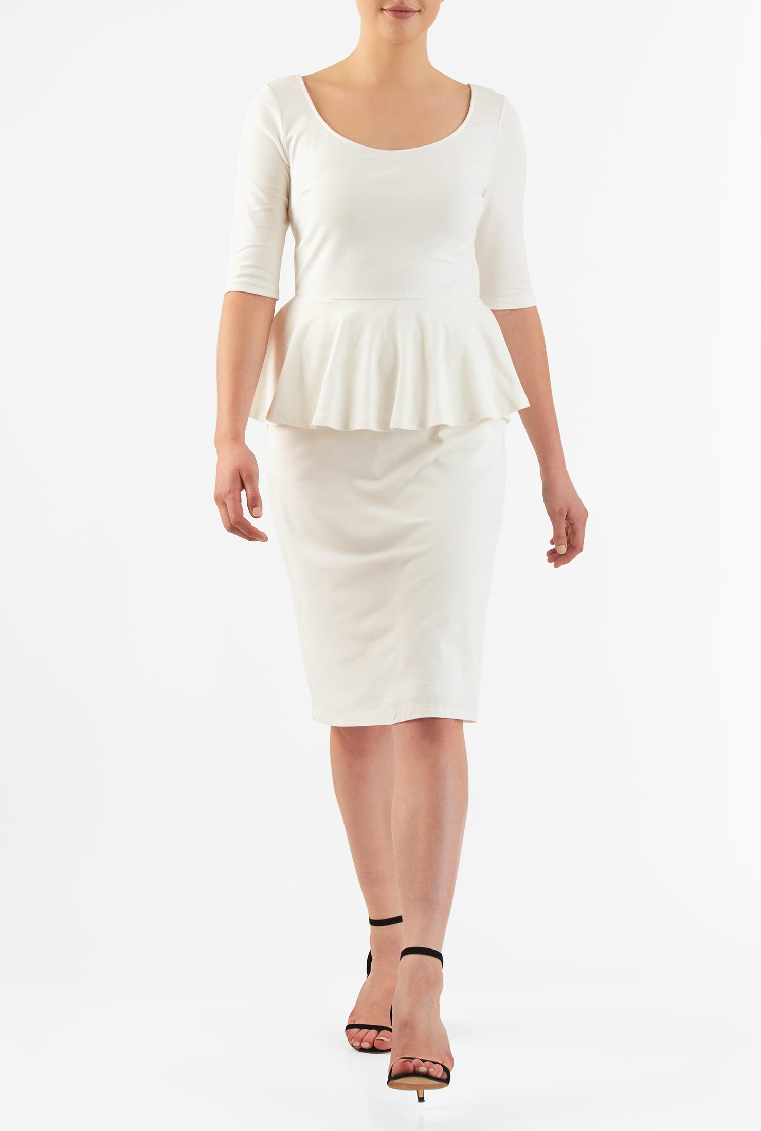 Eshakti Womens Peplum Waist Cotton Knit Sheath Dress
