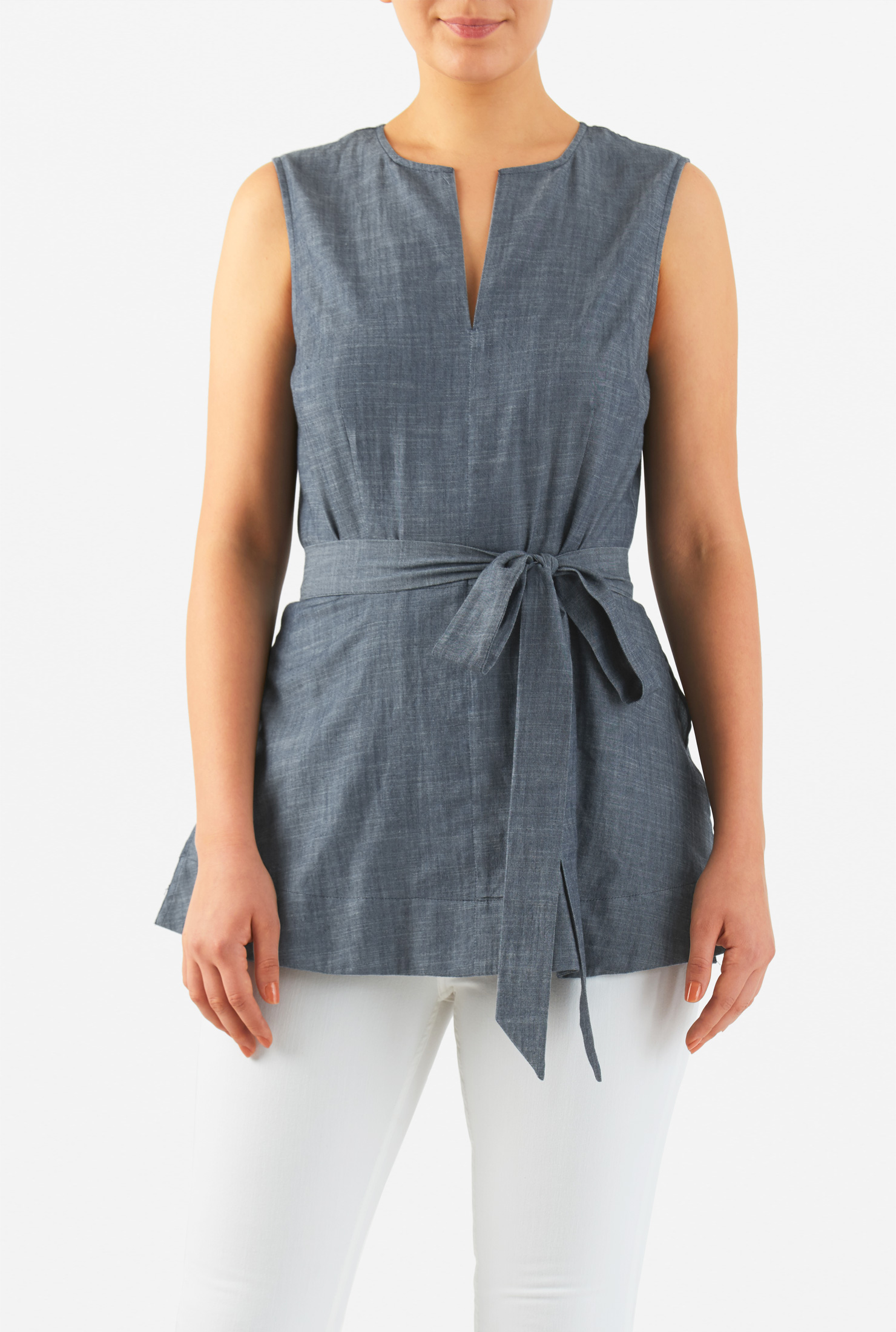 Eshakti Womens Cotton Chambray Sash Tie Belt Top