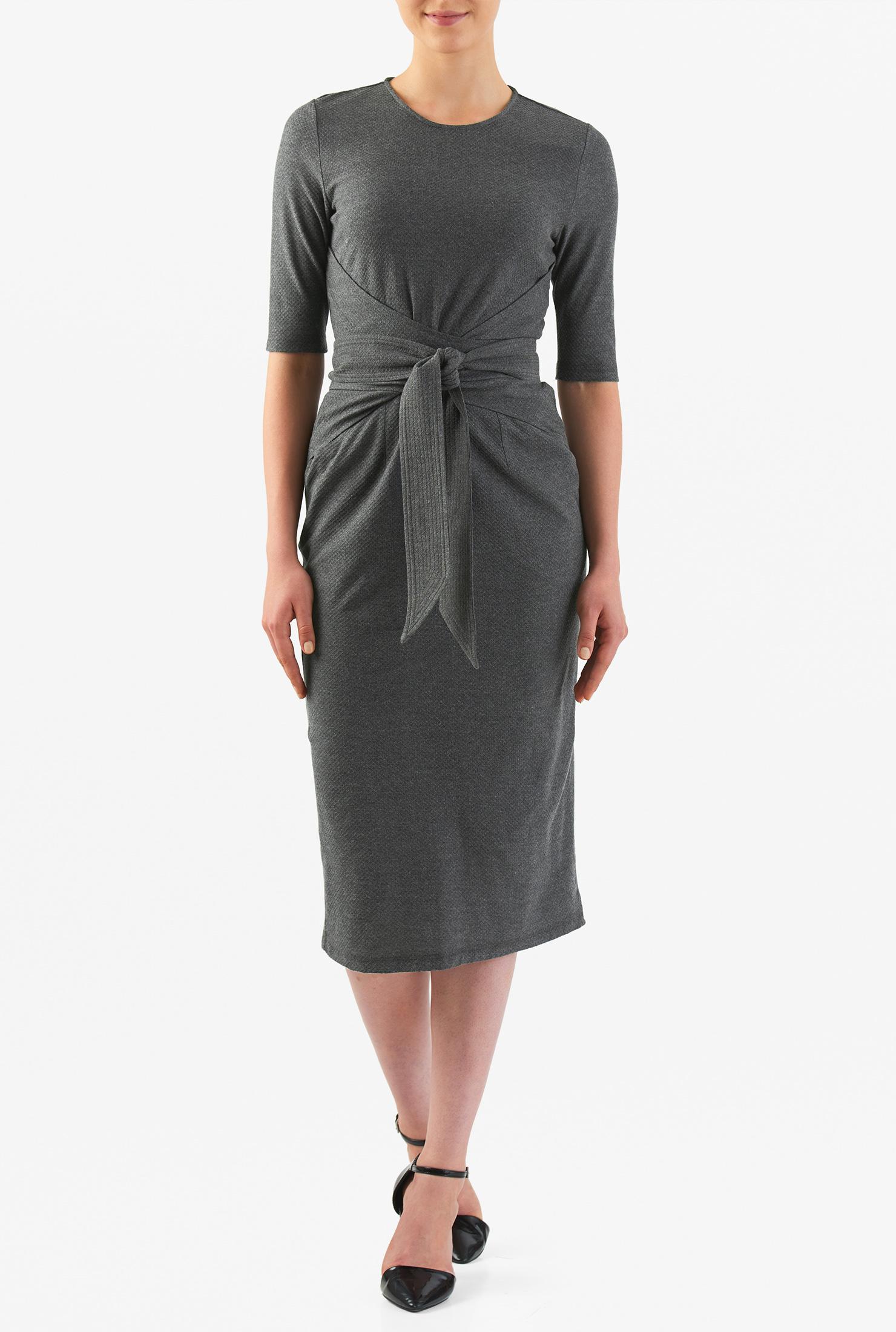 Eshakti Womens Obi Belt Textured Cotton Knit Sheath Dress