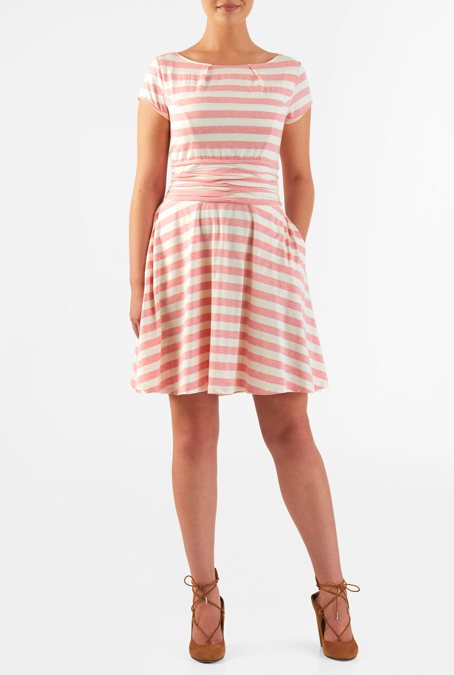 Eshakti Womens Pleat Waist Stripe Cotton Knit Dress