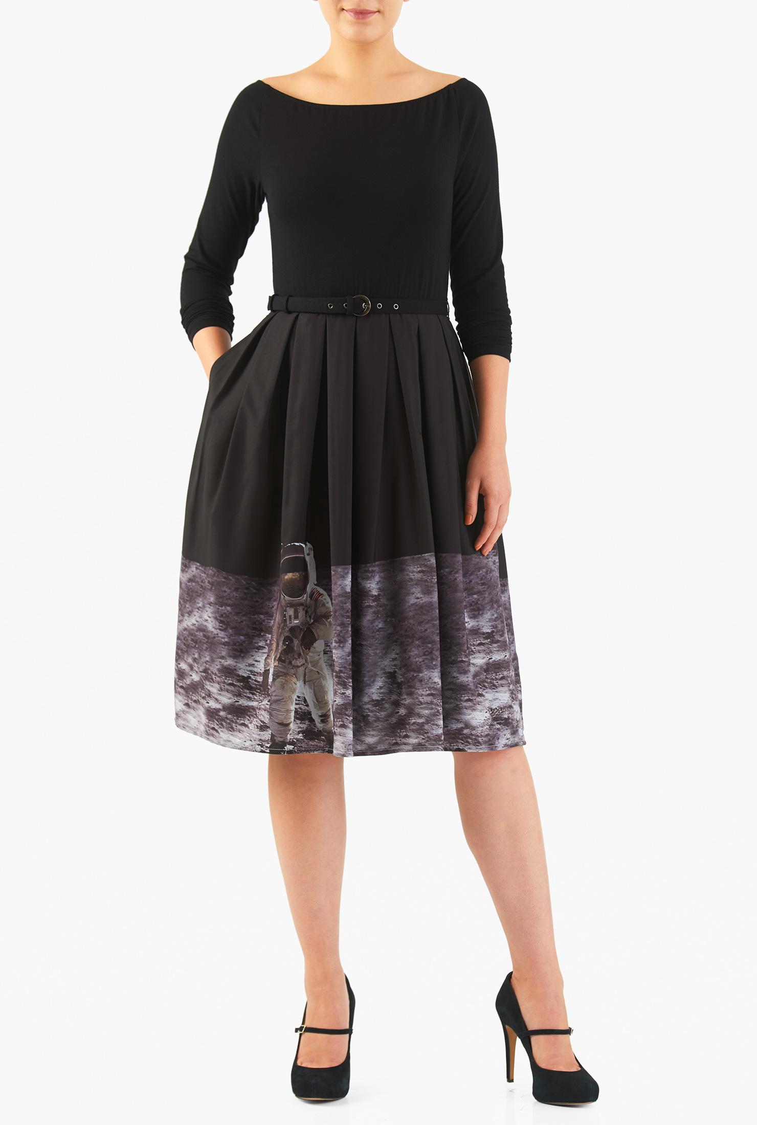 Image of eShakti Women's Astronaut space print belted mixed media dress