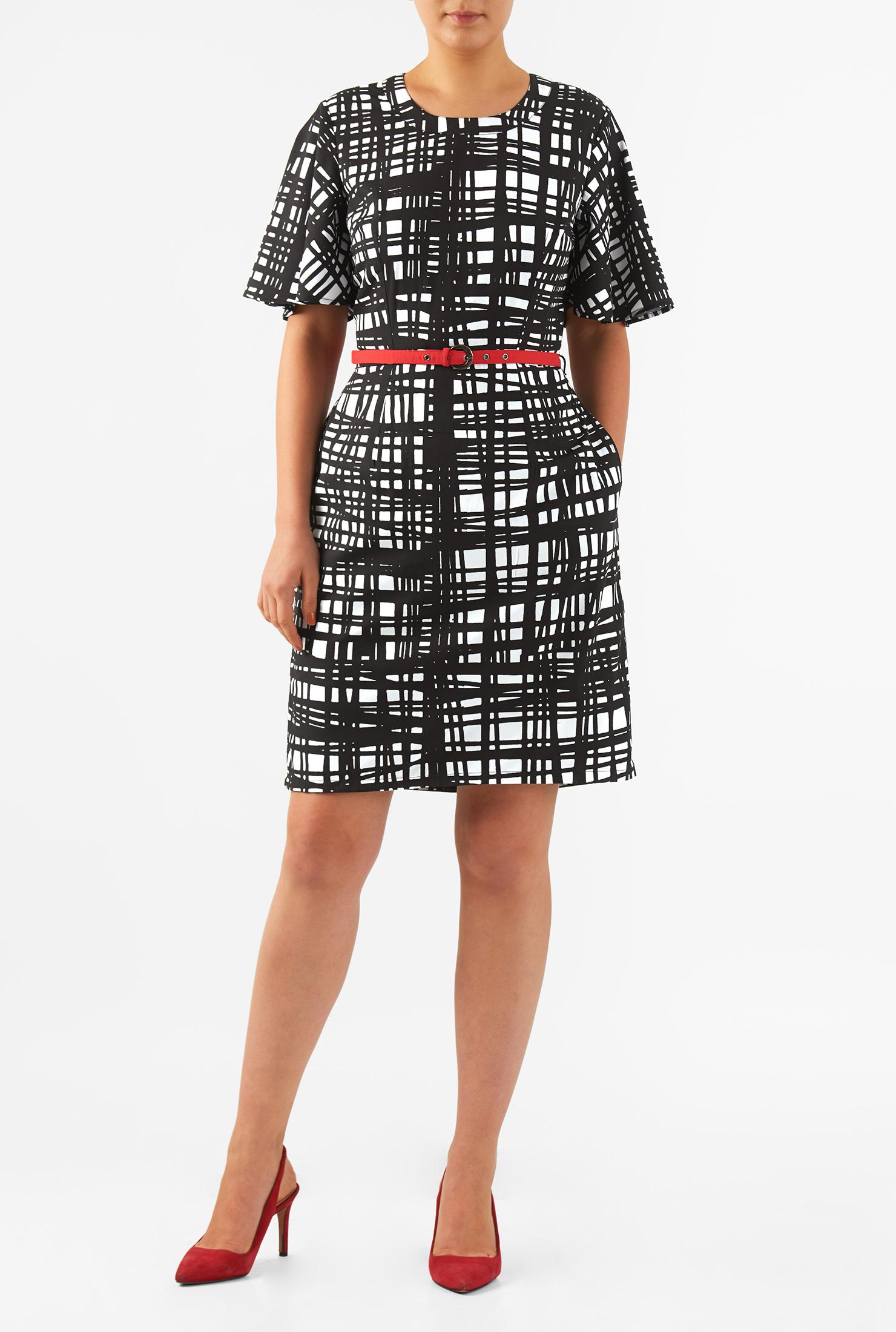 Eshakti Womens Graphic Print Crepe Belted Sheath Dress