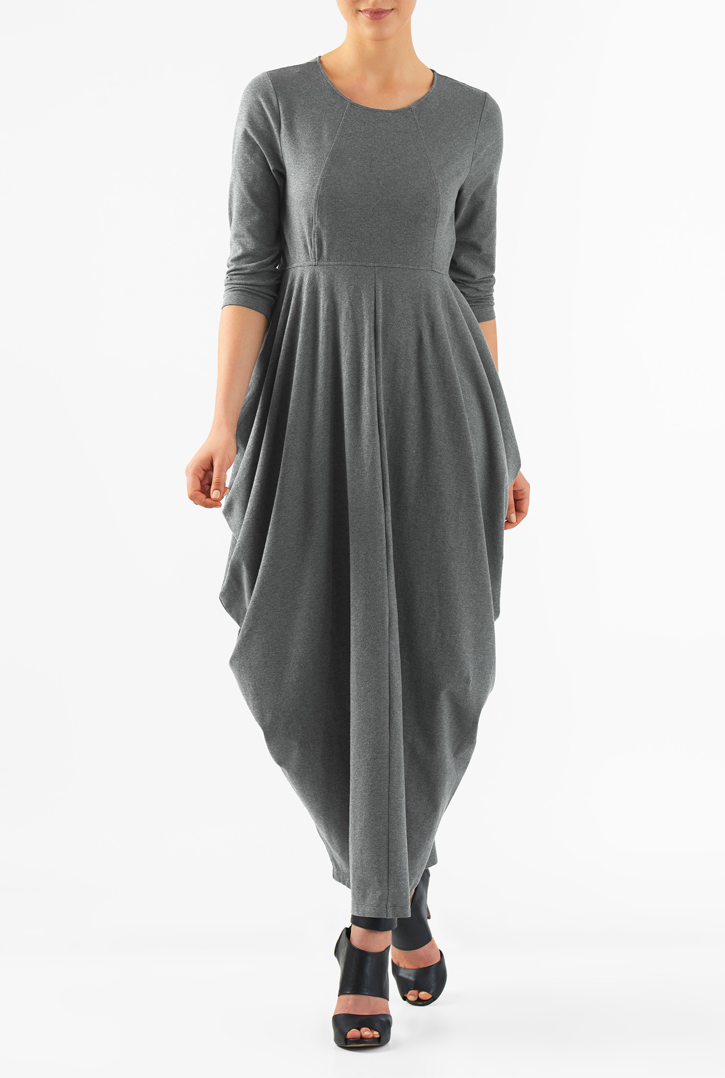 Eshakti Womens Draped Flounce Cotton Knit Maxi Dress