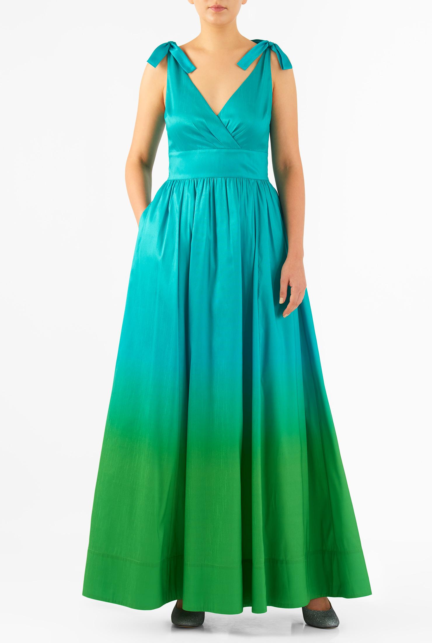 Eshakti Womens Shoulder Ties Ombre Print Dupioni Maxi Dress