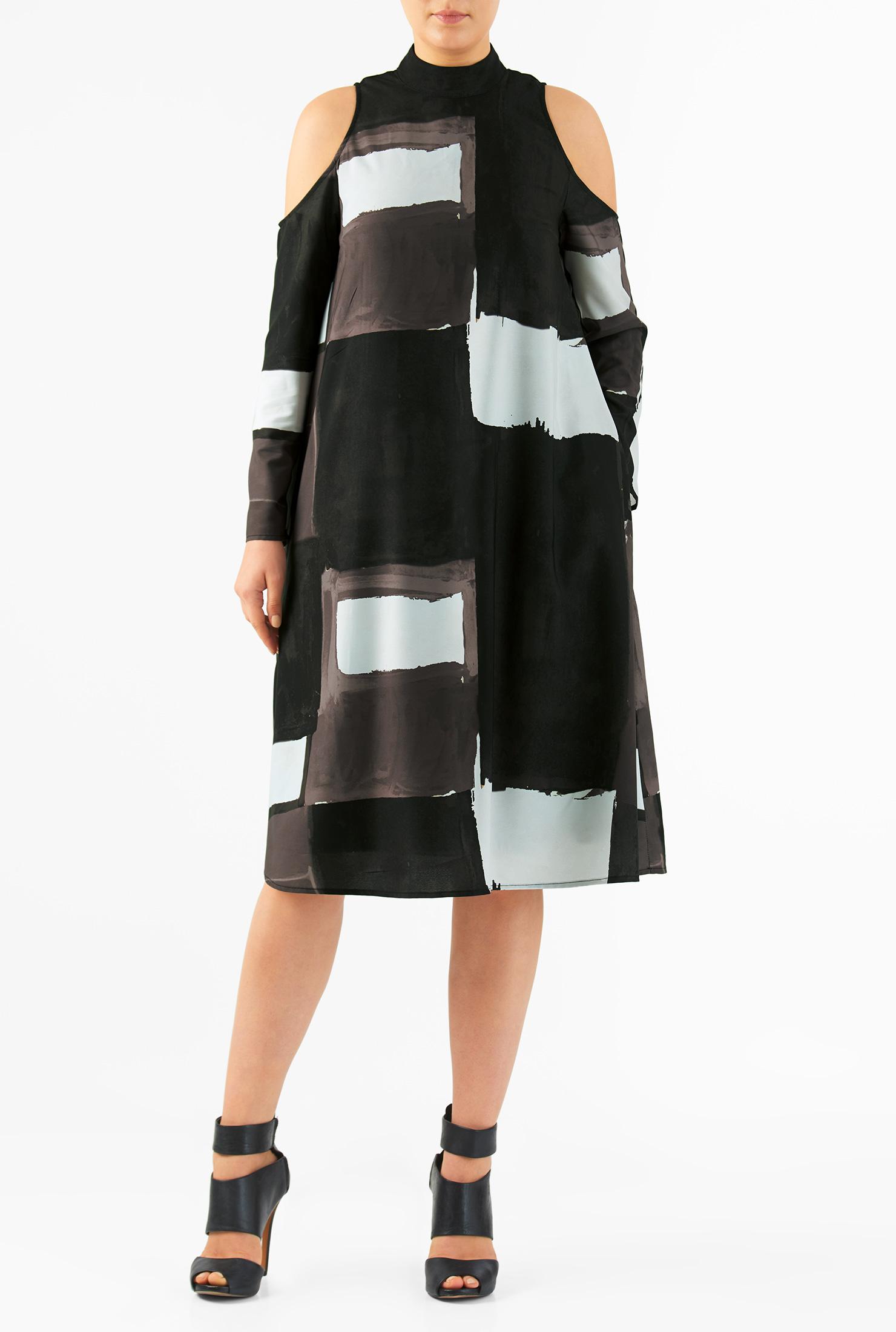 eShakti Women's Cold shoulder graphic print crepe shift dress CL0050917