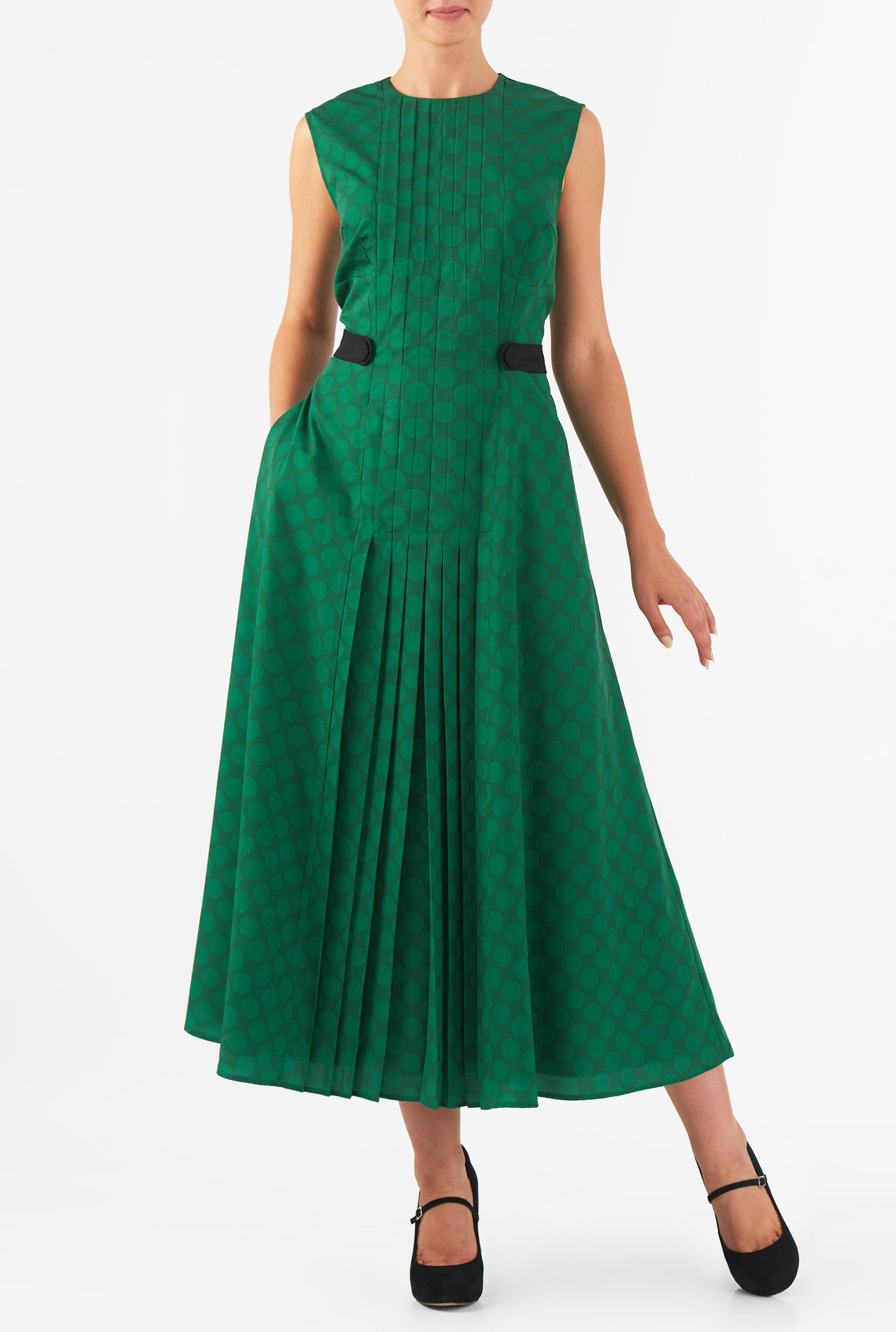 Eshakti Womens Pleat Front Polka Dot Print Crepe Maxi Dress
