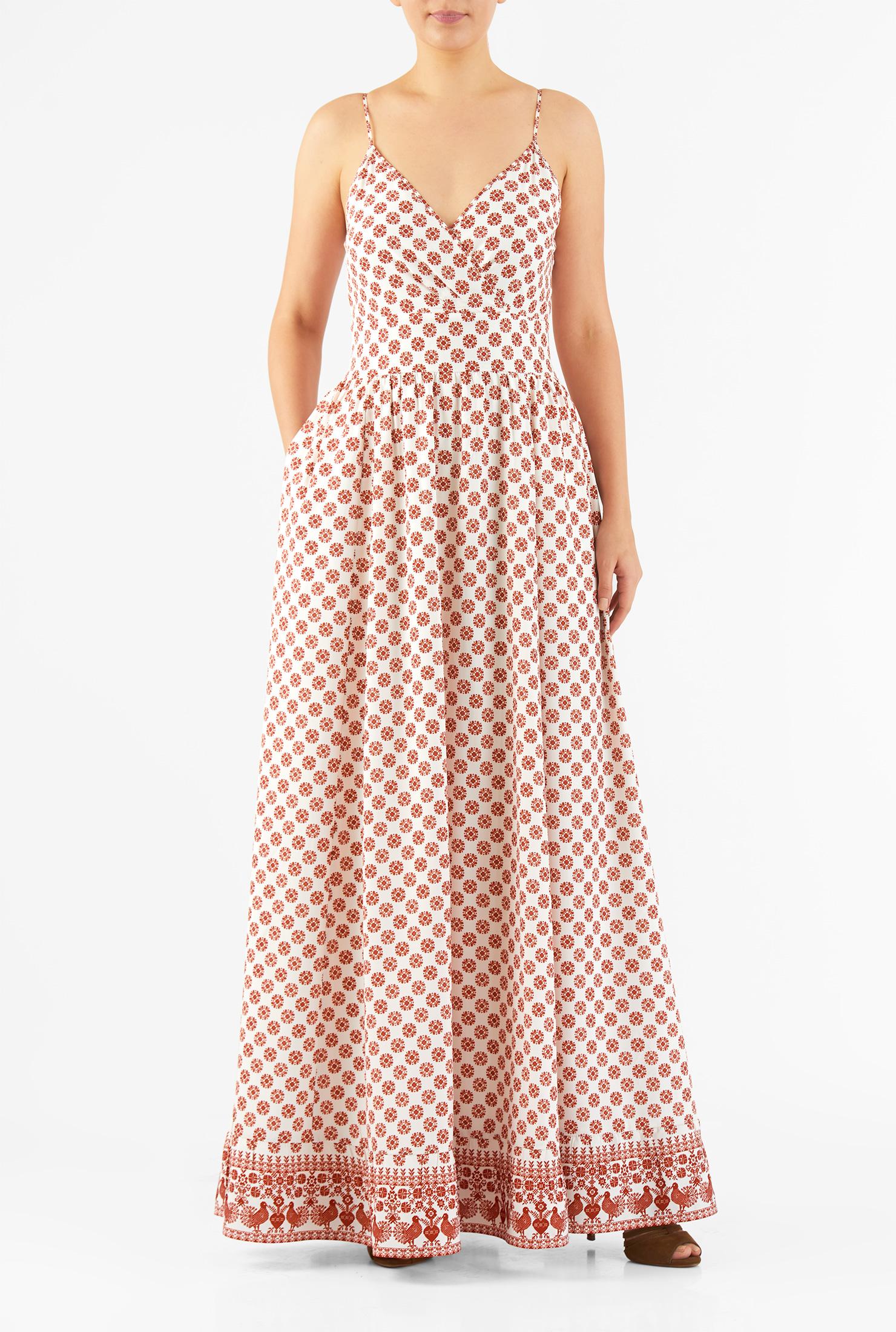 Eshakti Womens Tile Print Surplice Crepe Maxi Dress