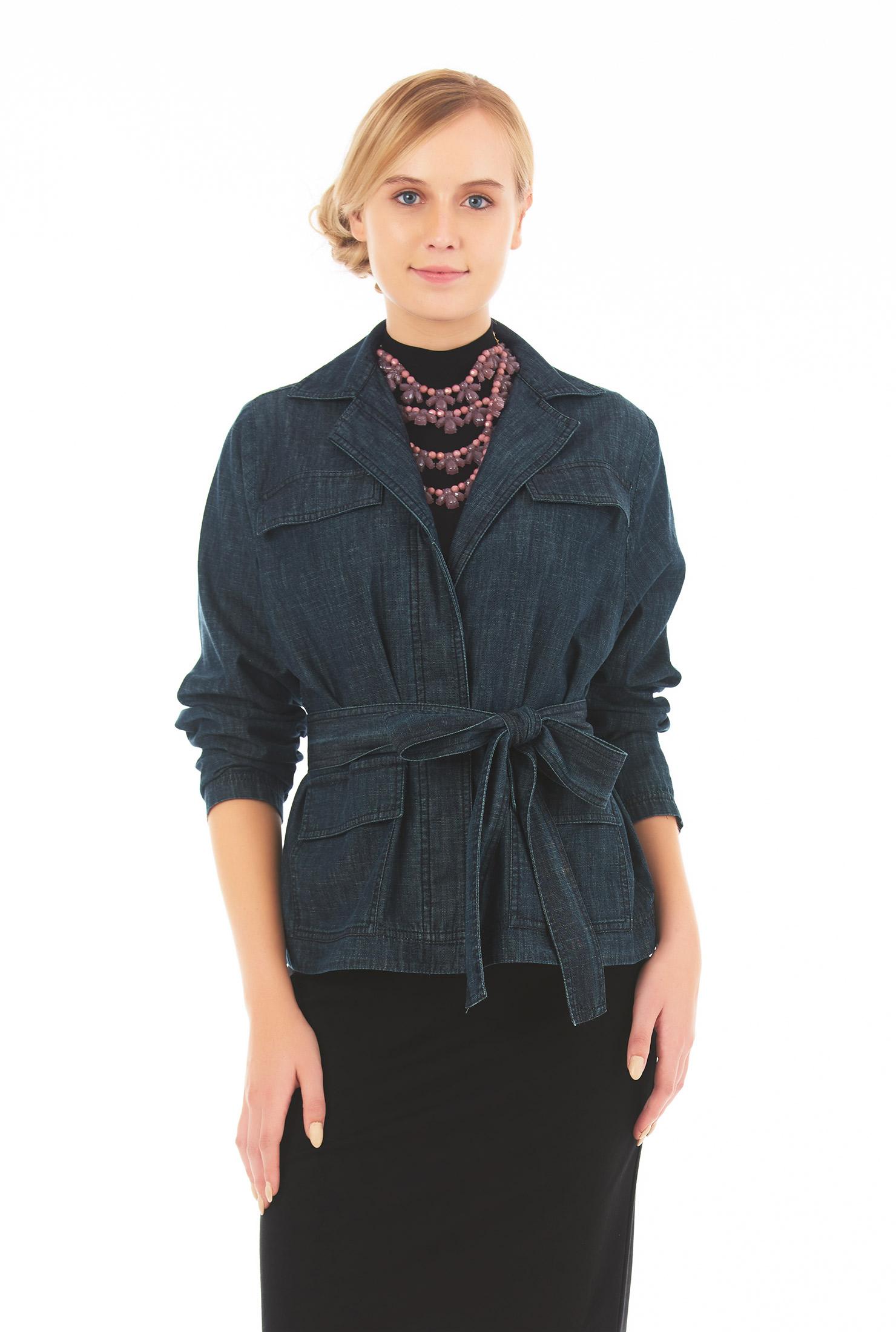 Eshakti Womens Sash Tie Belt Cotton Denim Jacket