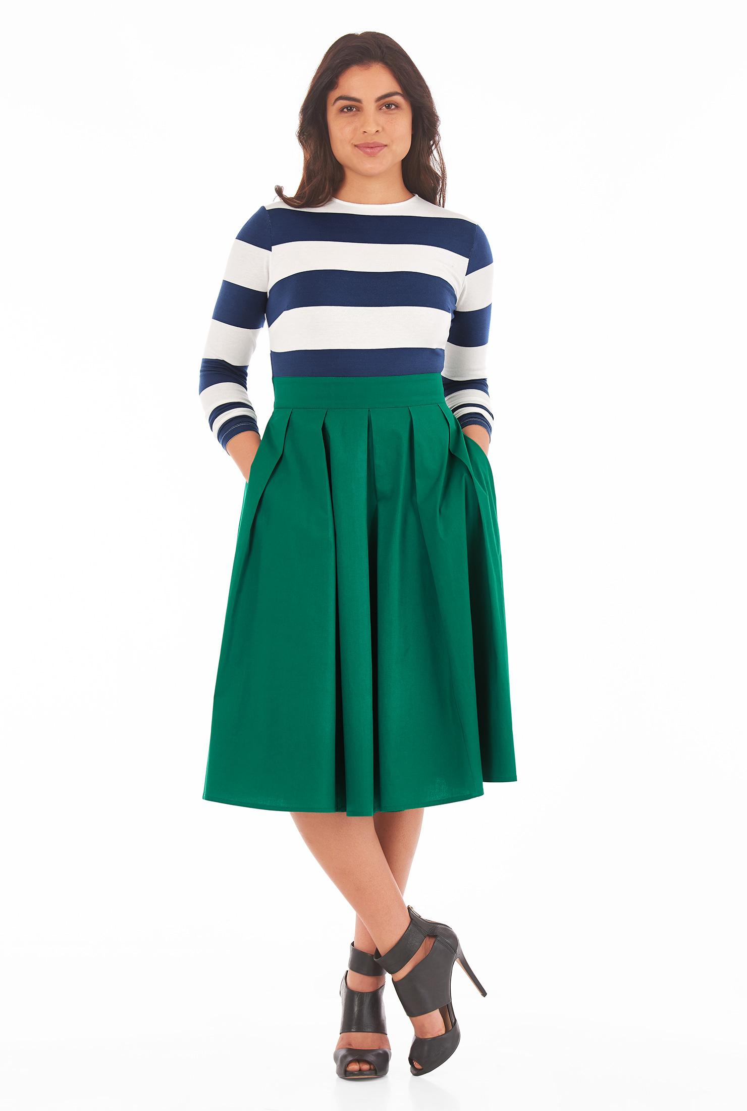 eShakti Women's Mixed media stripe cotton knit dress CL0051739