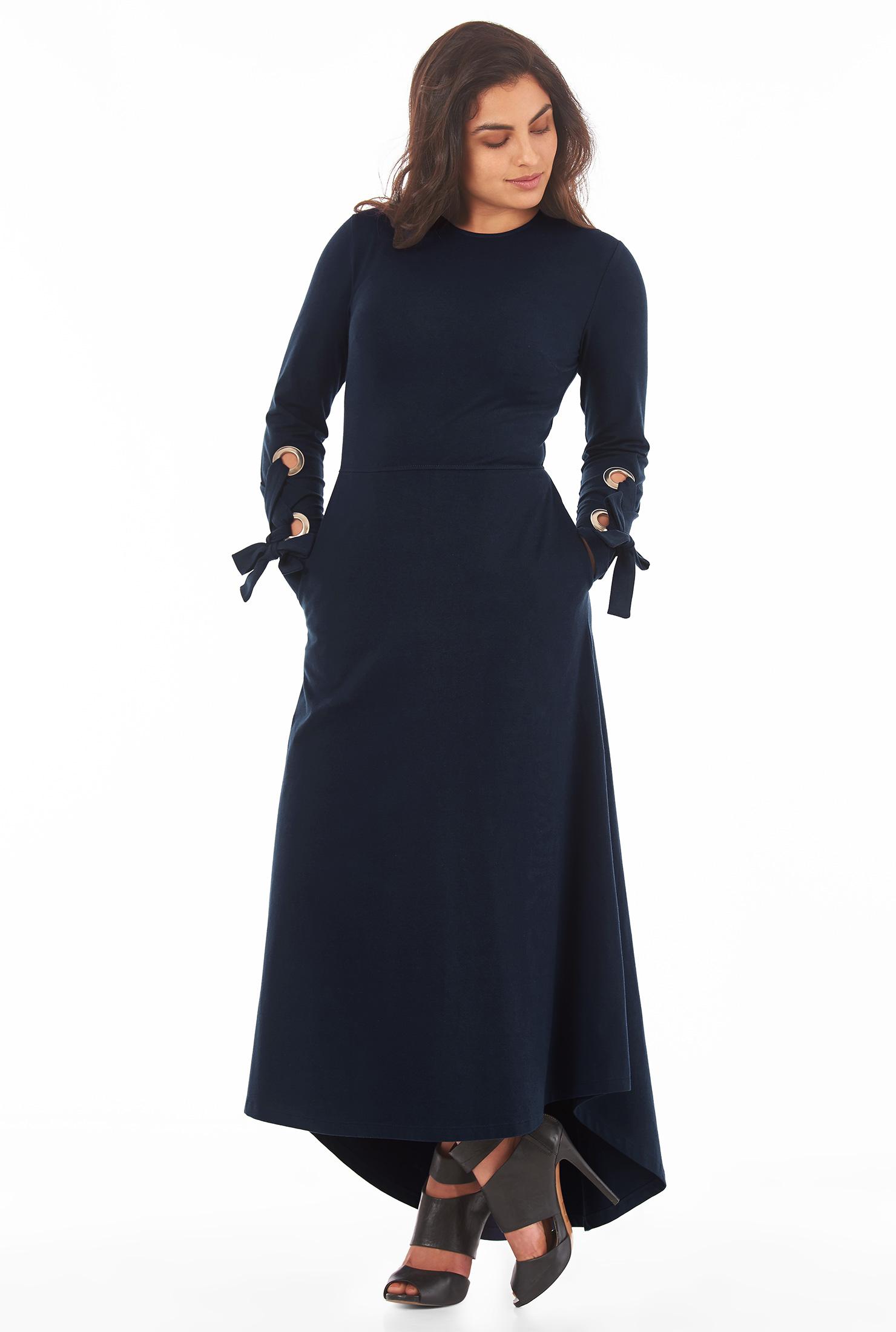 Eshakti Womens Lace-up Cuff Cotton Knit Maxi Dress