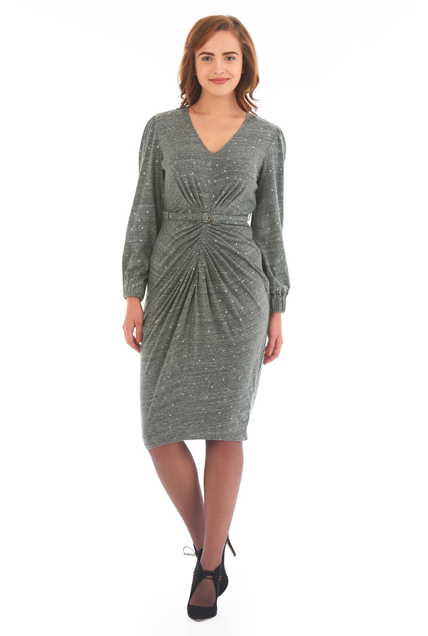 Eshakti Womens Ruched Silver Dot Melange Knit Sheath Dress