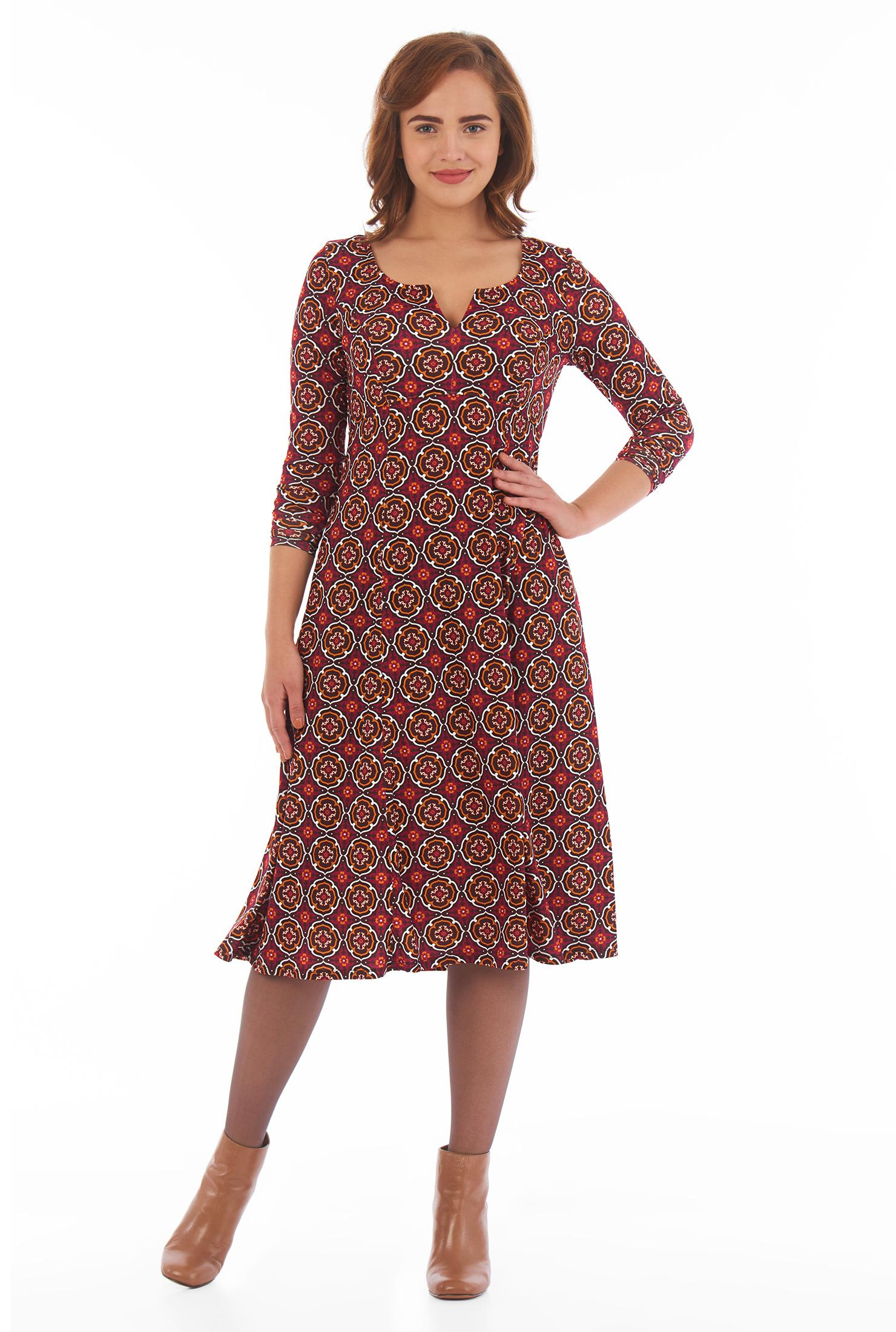 eShakti Women's Tile print jersey knit empire dress CL0051932