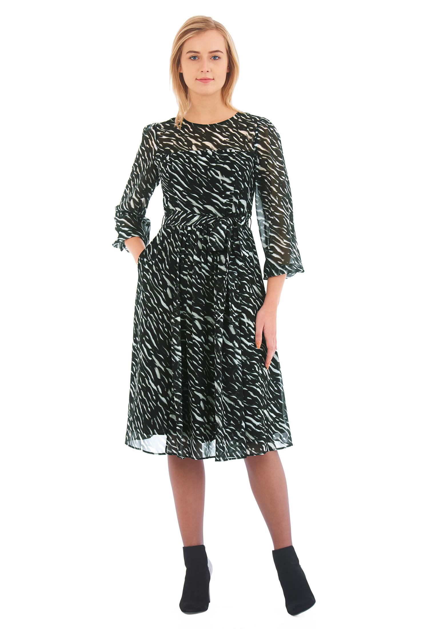 Image of eShakti Women's Animal print georgette sash tie dress
