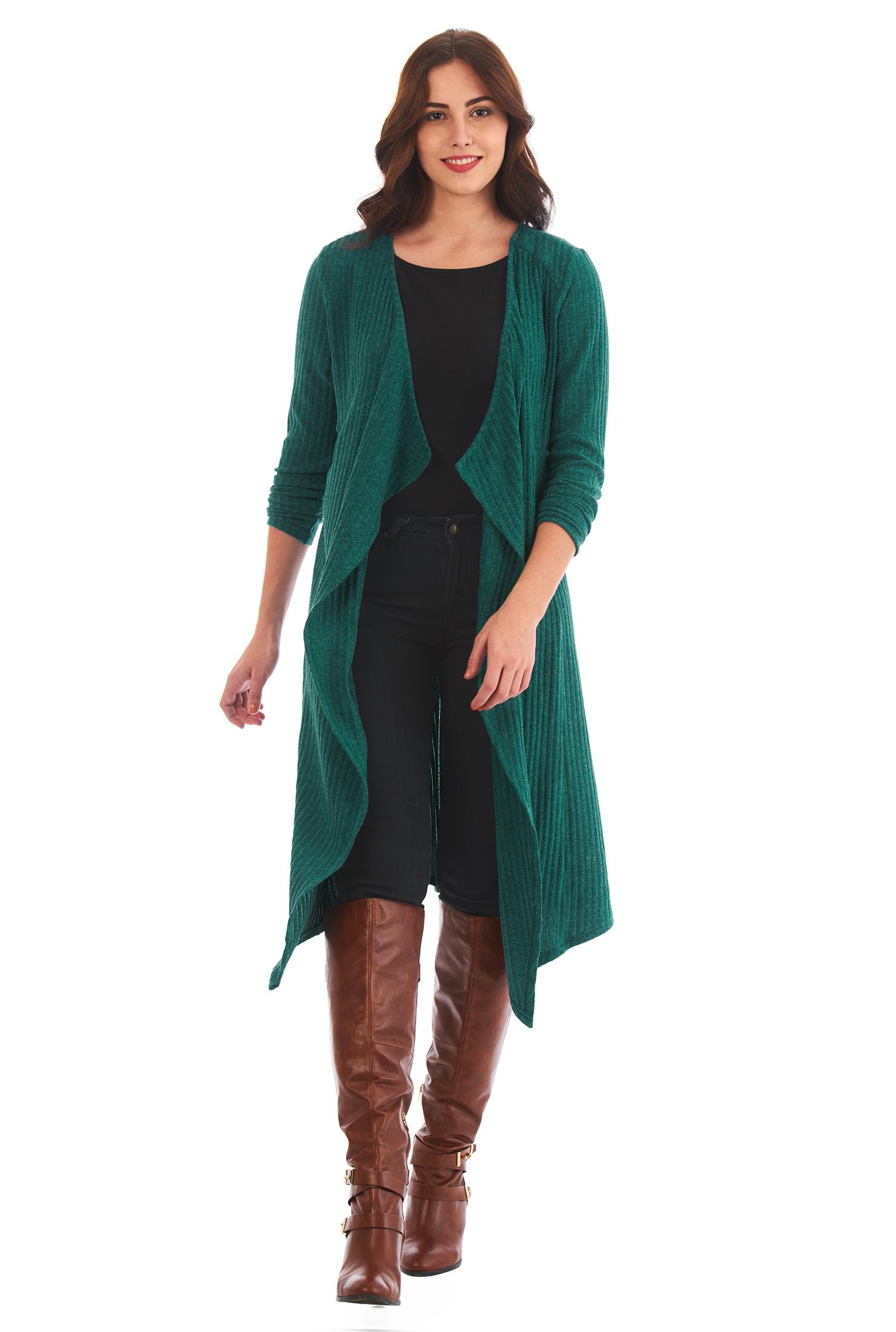 eShakti Women's Sweater rib knit open front long cardigan CL0052066